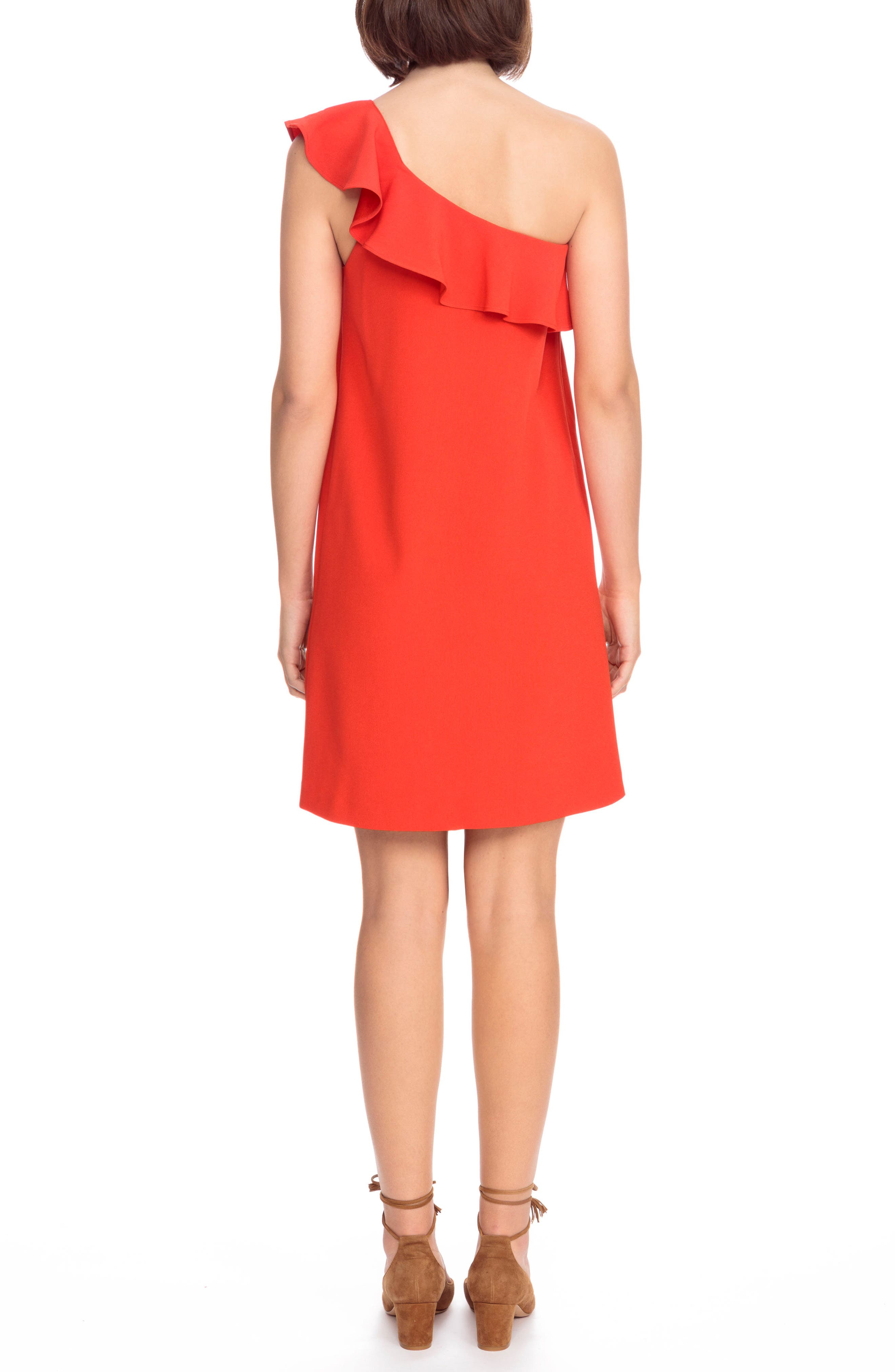 Louison Ruffle One-Shoulder Shift Dress,                             Alternate thumbnail 2, color,                             600