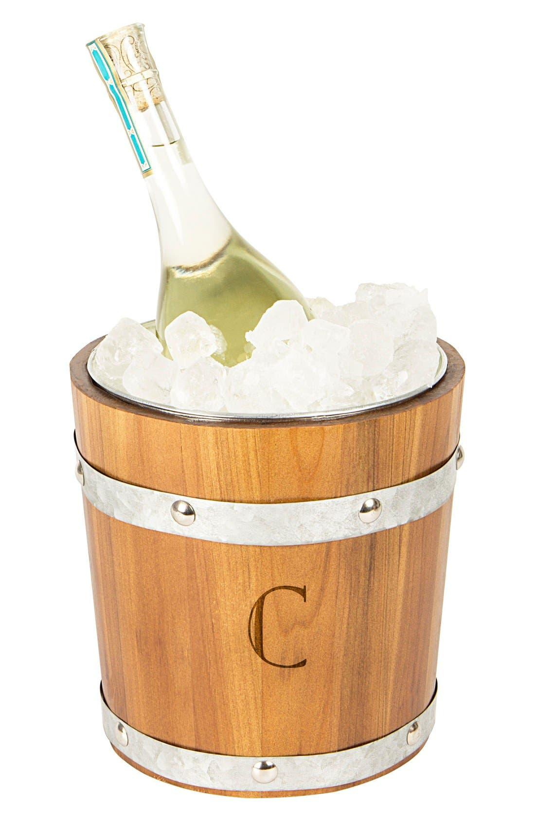 Rustic Monogram Ice Bucket,                             Main thumbnail 4, color,