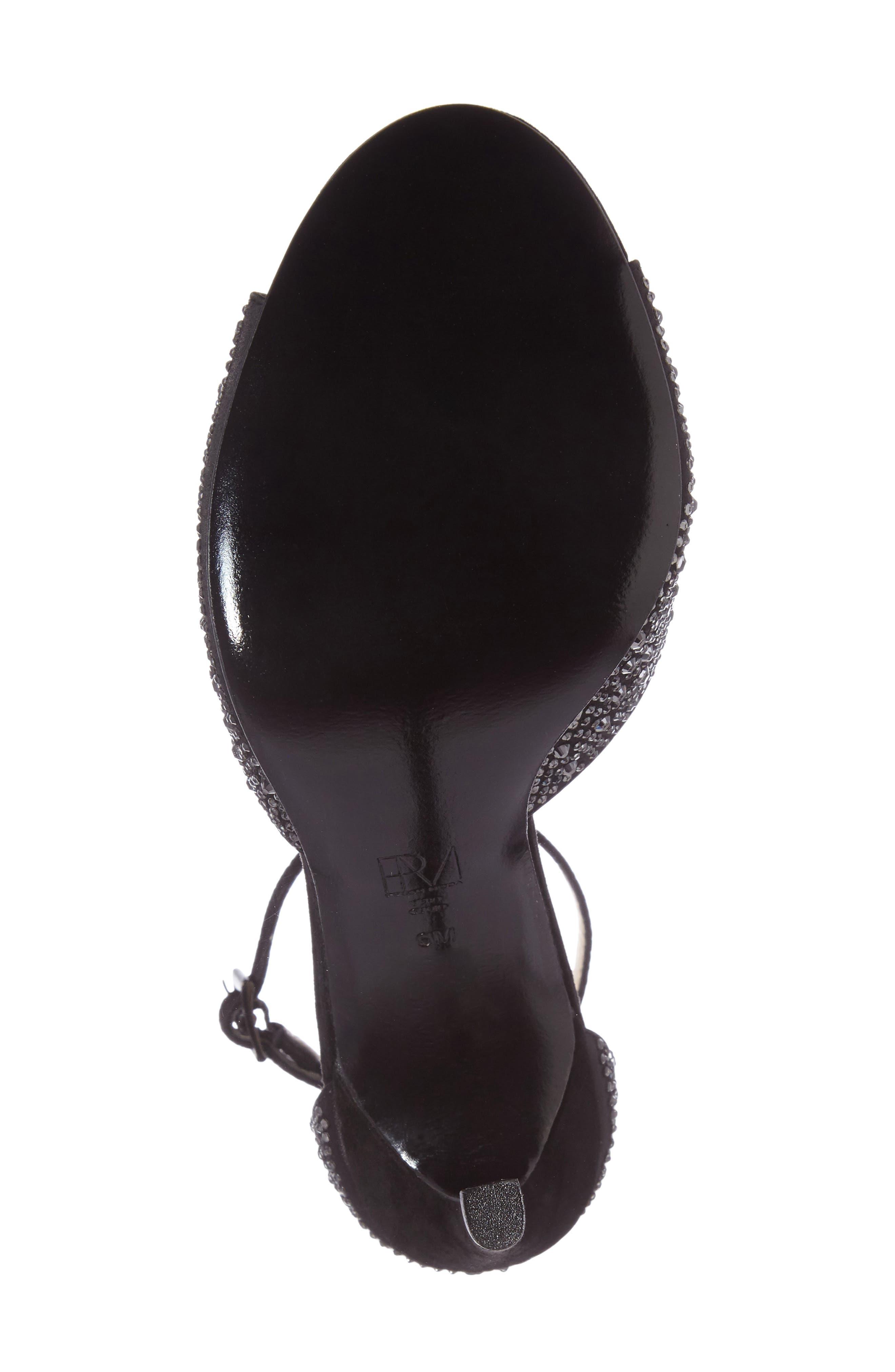 Crystal Embellished Ankle Strap Sandal,                             Alternate thumbnail 4, color,                             001
