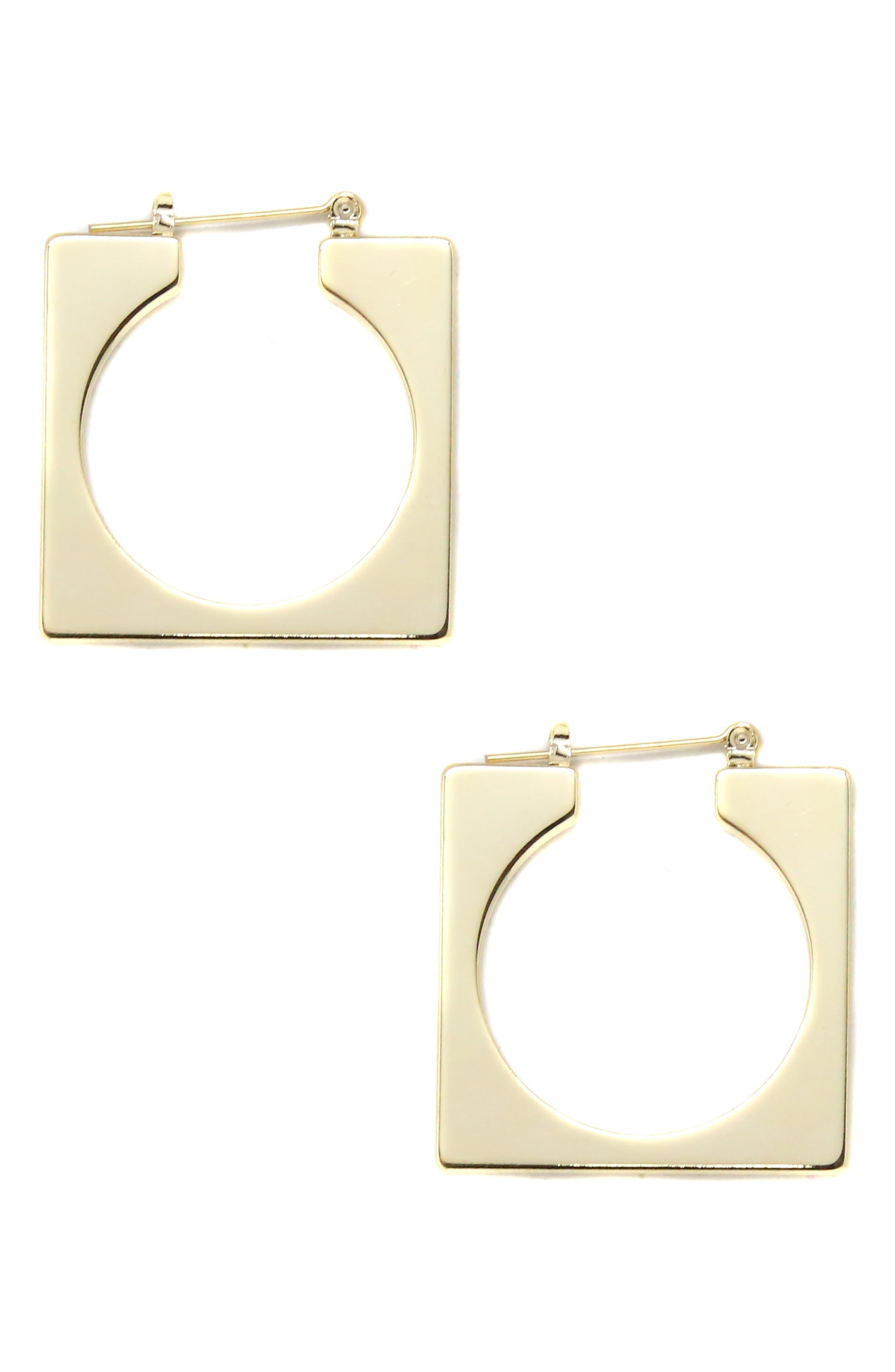 ETTIKA Geo Square Open Hoop Earrings in Gold