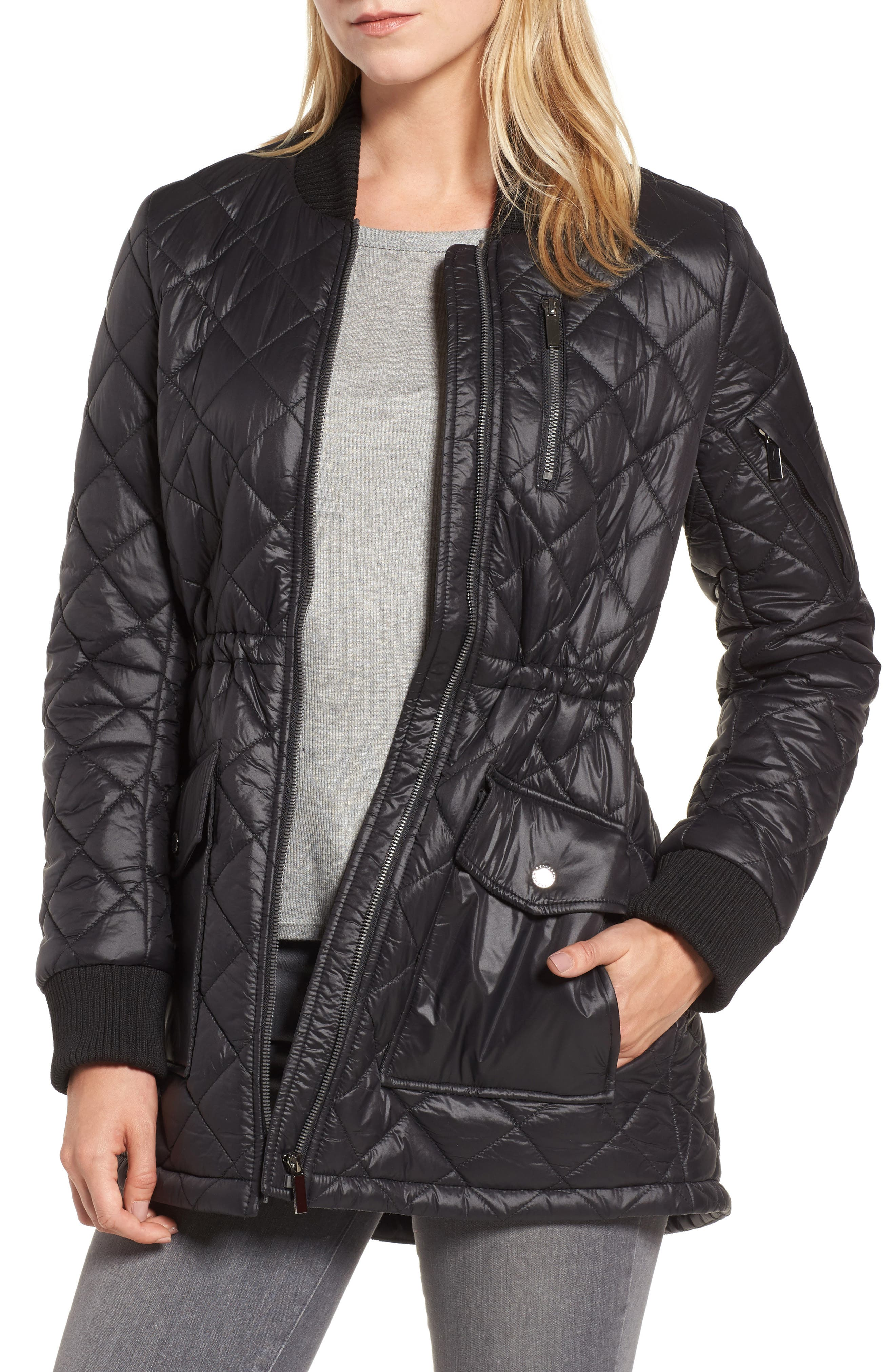 Quilted Anorak Jacket,                             Main thumbnail 1, color,                             001