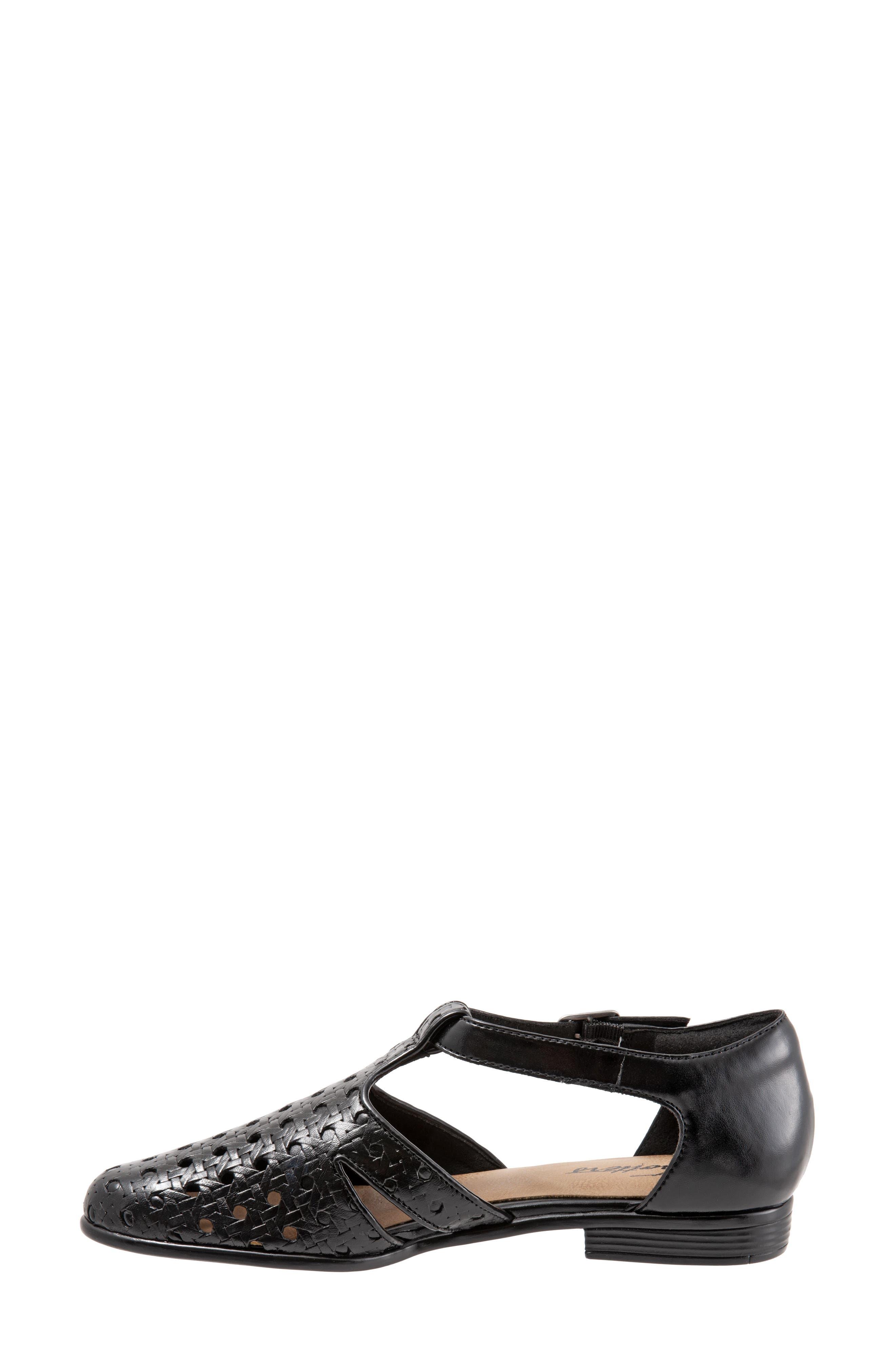 Leatha Open Weave Skimmer Flat,                             Alternate thumbnail 8, color,                             BLACK LEATHER