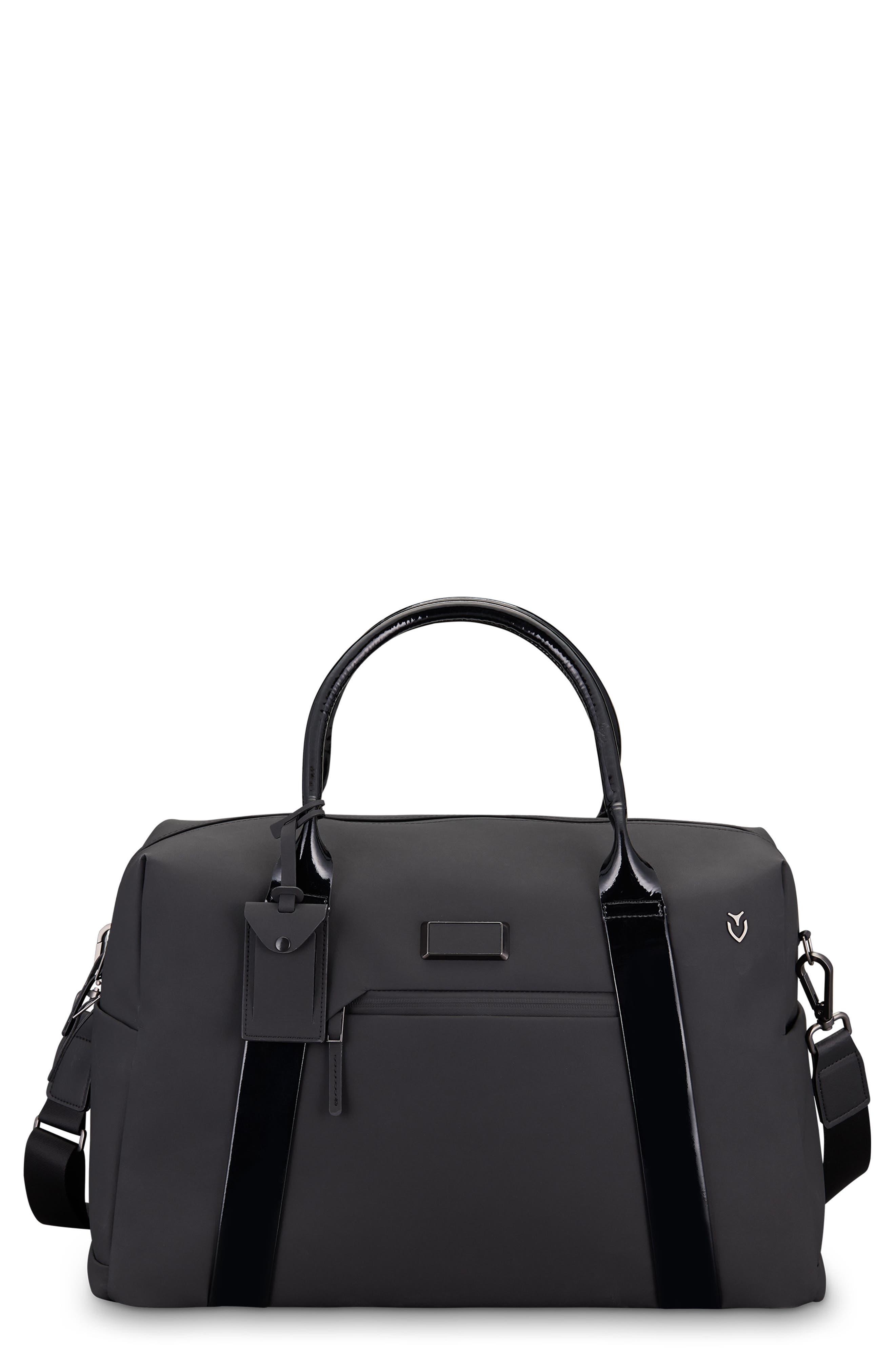 Signature 2.0 Faux Leather Duffel Bag,                             Main thumbnail 1, color,                             MATTE/ PATENT BLACK