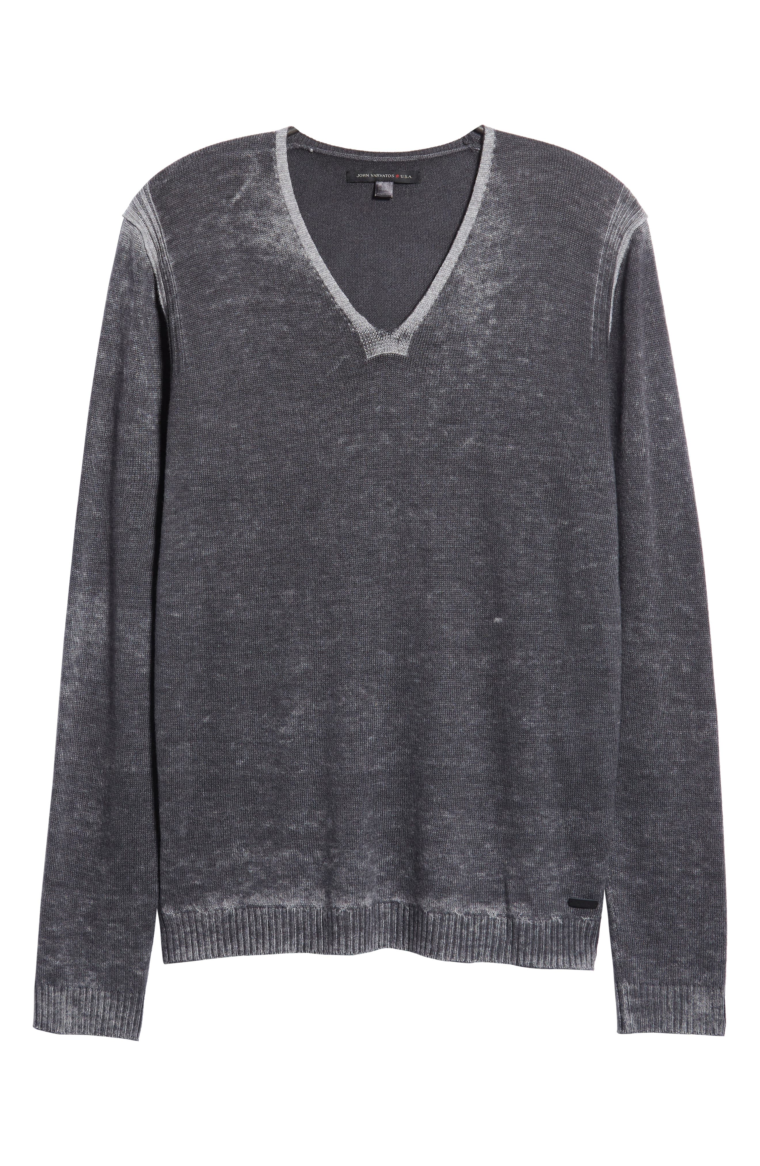 V-Neck Sweater,                             Alternate thumbnail 6, color,                             CHARCOAL