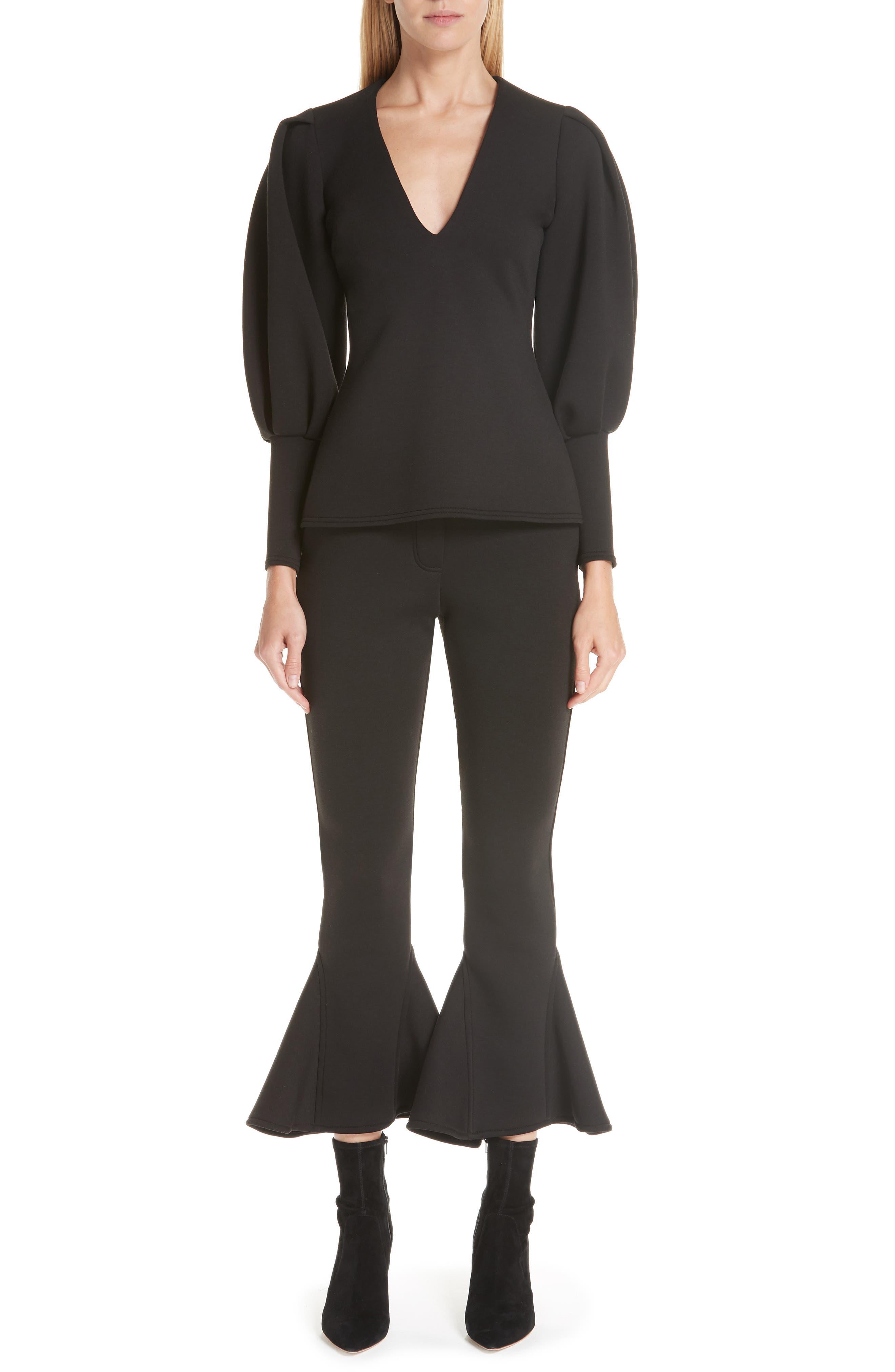 Ruffle Bell Bottom Neoprene Pants,                             Alternate thumbnail 7, color,                             BLACK