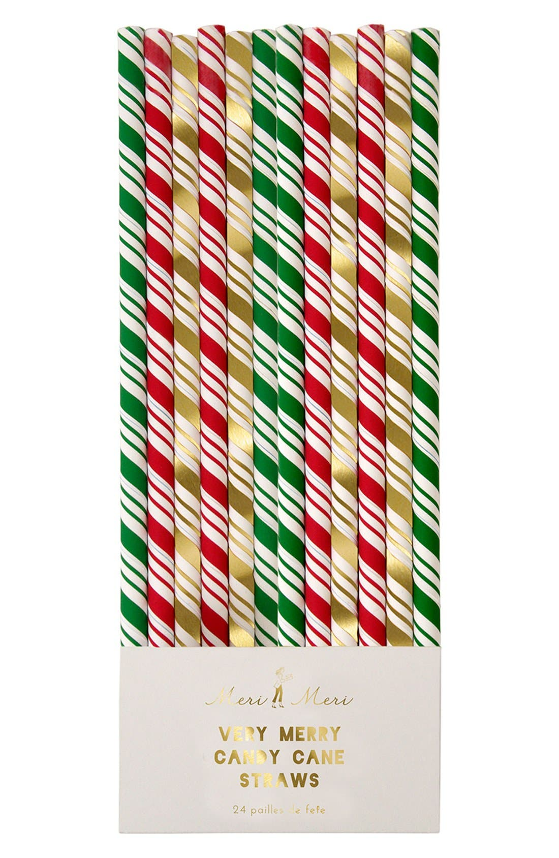 'Very Merry Candy Cane' Straws, Main, color, 100