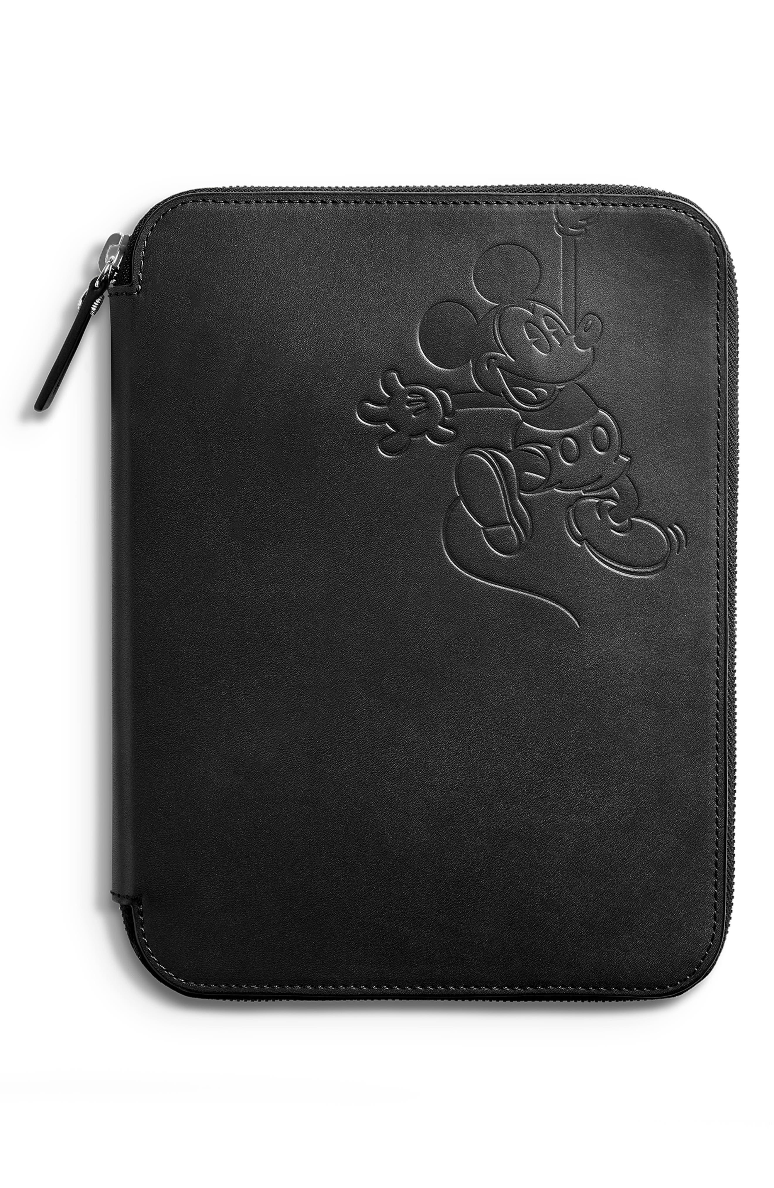 SHINOLA,                             x Disney Leather Tech Portfolio,                             Main thumbnail 1, color,                             BLACK