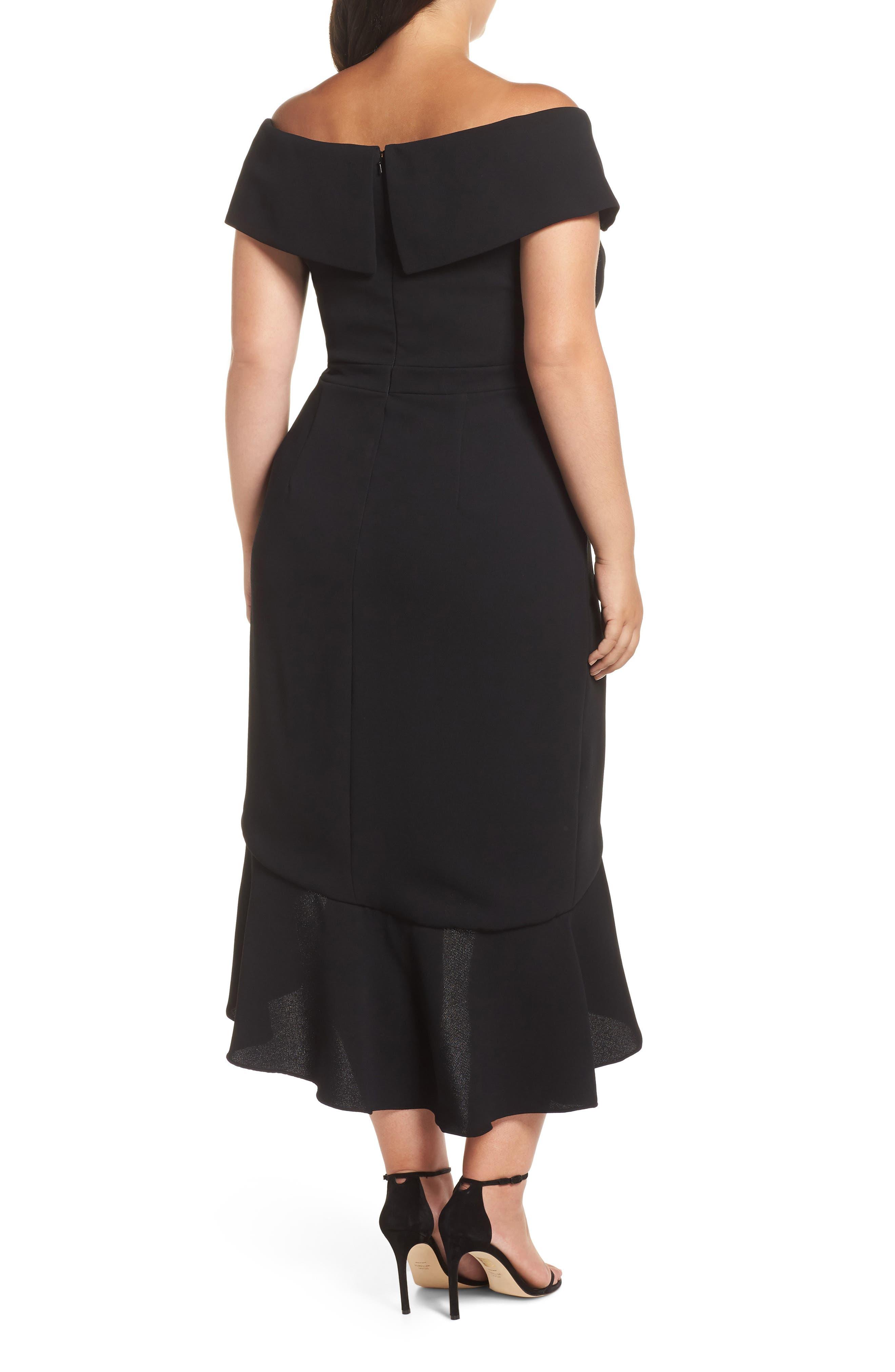 Off the Shoulder Ruffle Midi Dress,                             Alternate thumbnail 2, color,                             BLACK