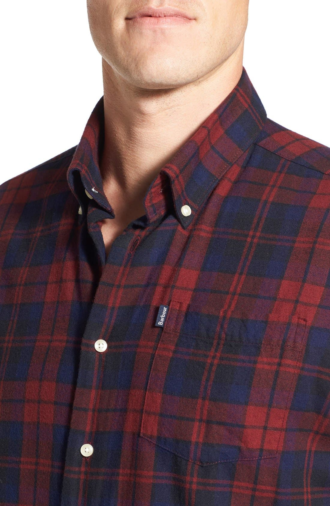 Seth Tailored Fit Plaid Sport Shirt,                             Alternate thumbnail 9, color,