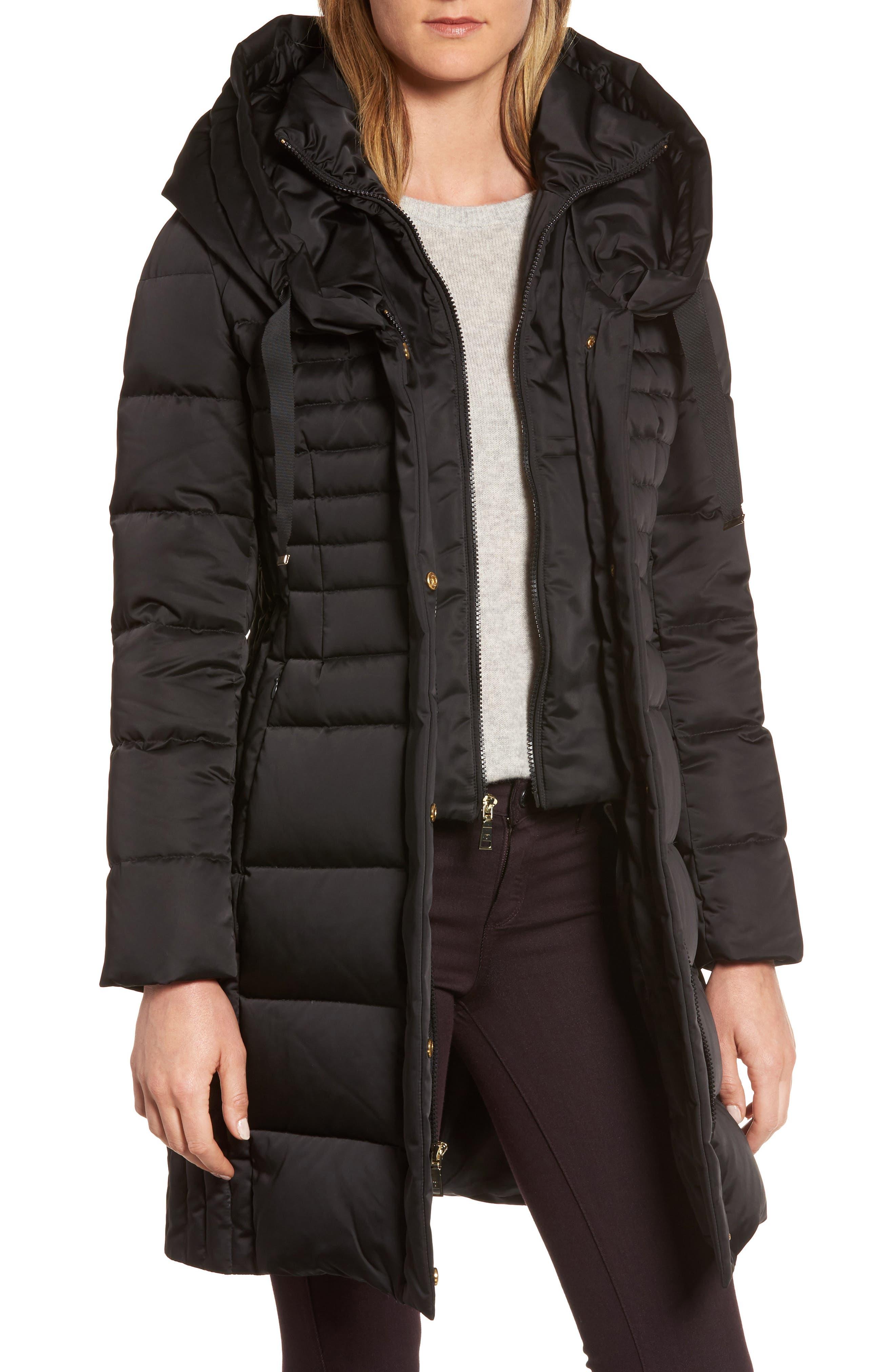 Mia Down & Feather Fill Coat,                         Main,                         color, 001
