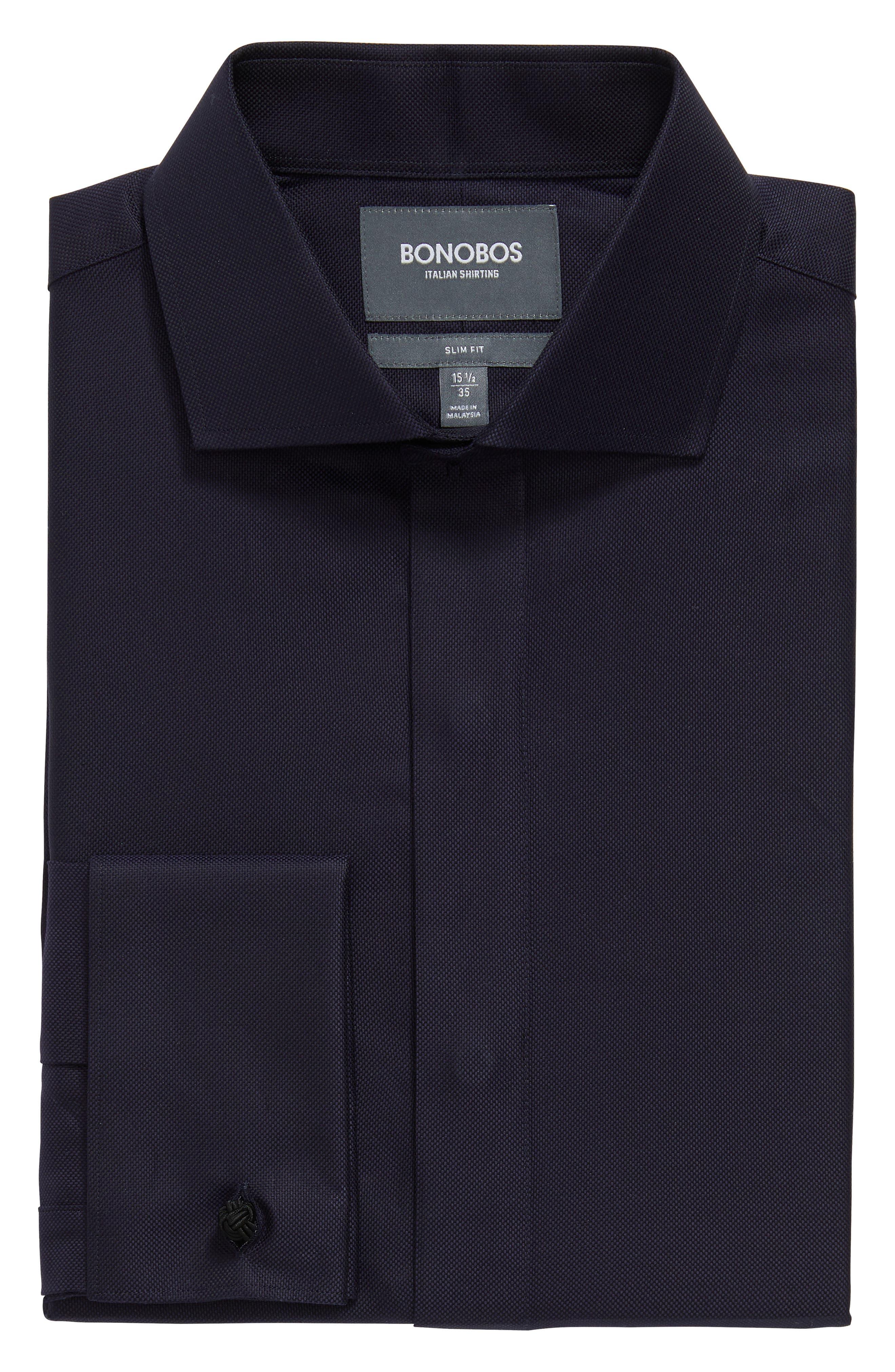 Slim Fit Solid Tuxedo Shirt,                             Alternate thumbnail 3, color,                             NAVY