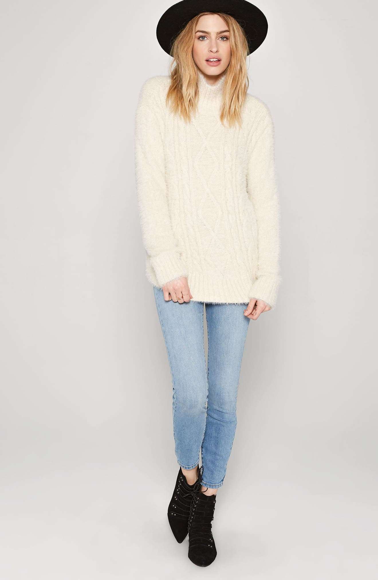 Cool Winds Cable Knit Sweater,                             Alternate thumbnail 6, color,