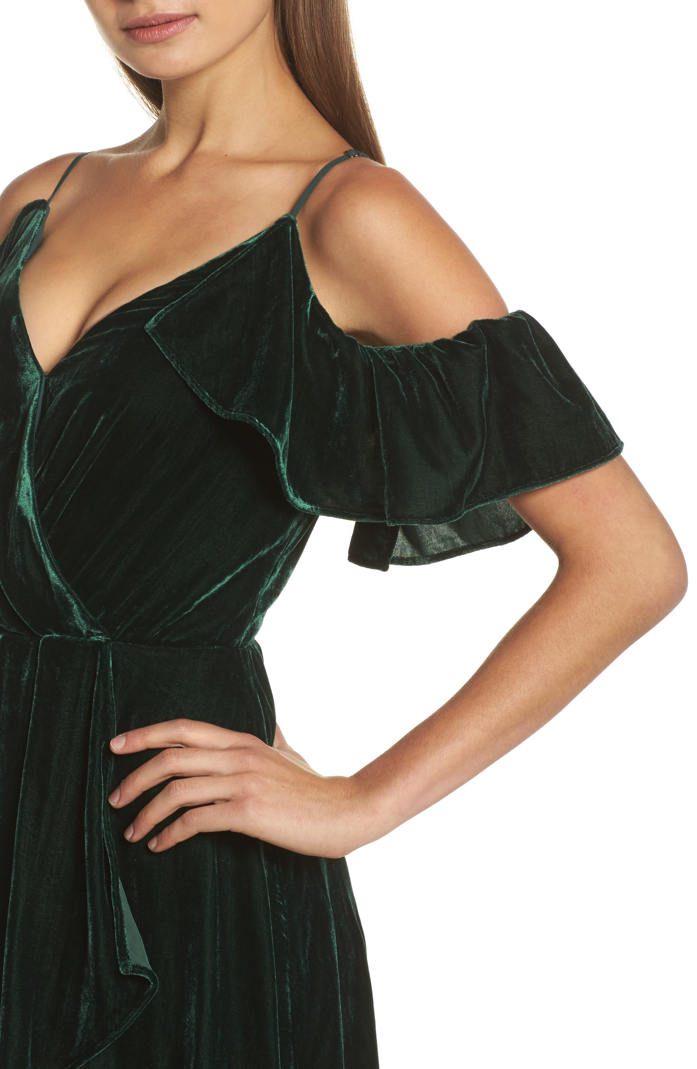Cold Shoulder Velvet Midi Dress,                             Alternate thumbnail 4, color,                             301
