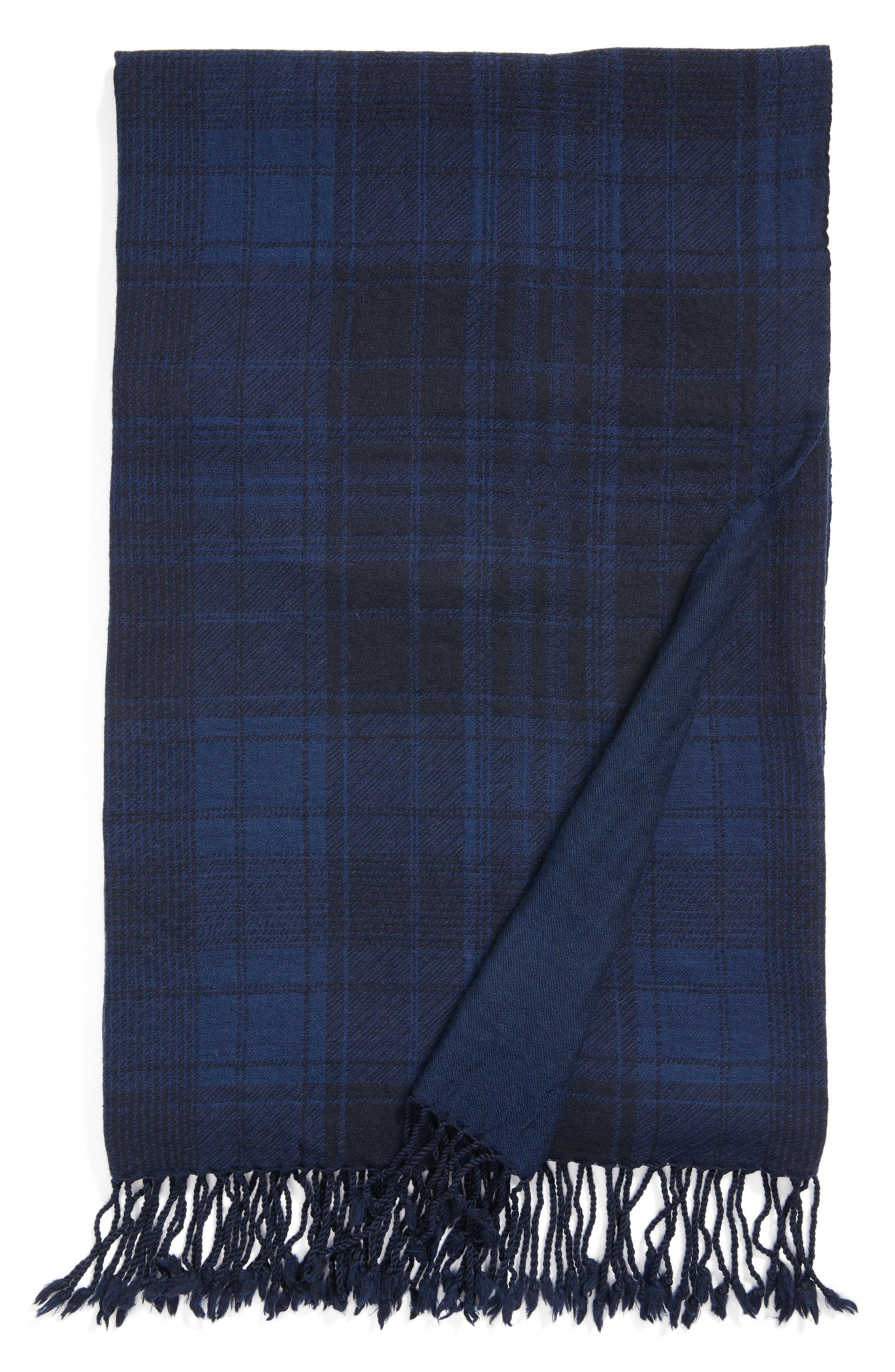 Plaid Double Face Merino Wool Throw,                             Main thumbnail 1, color,                             405