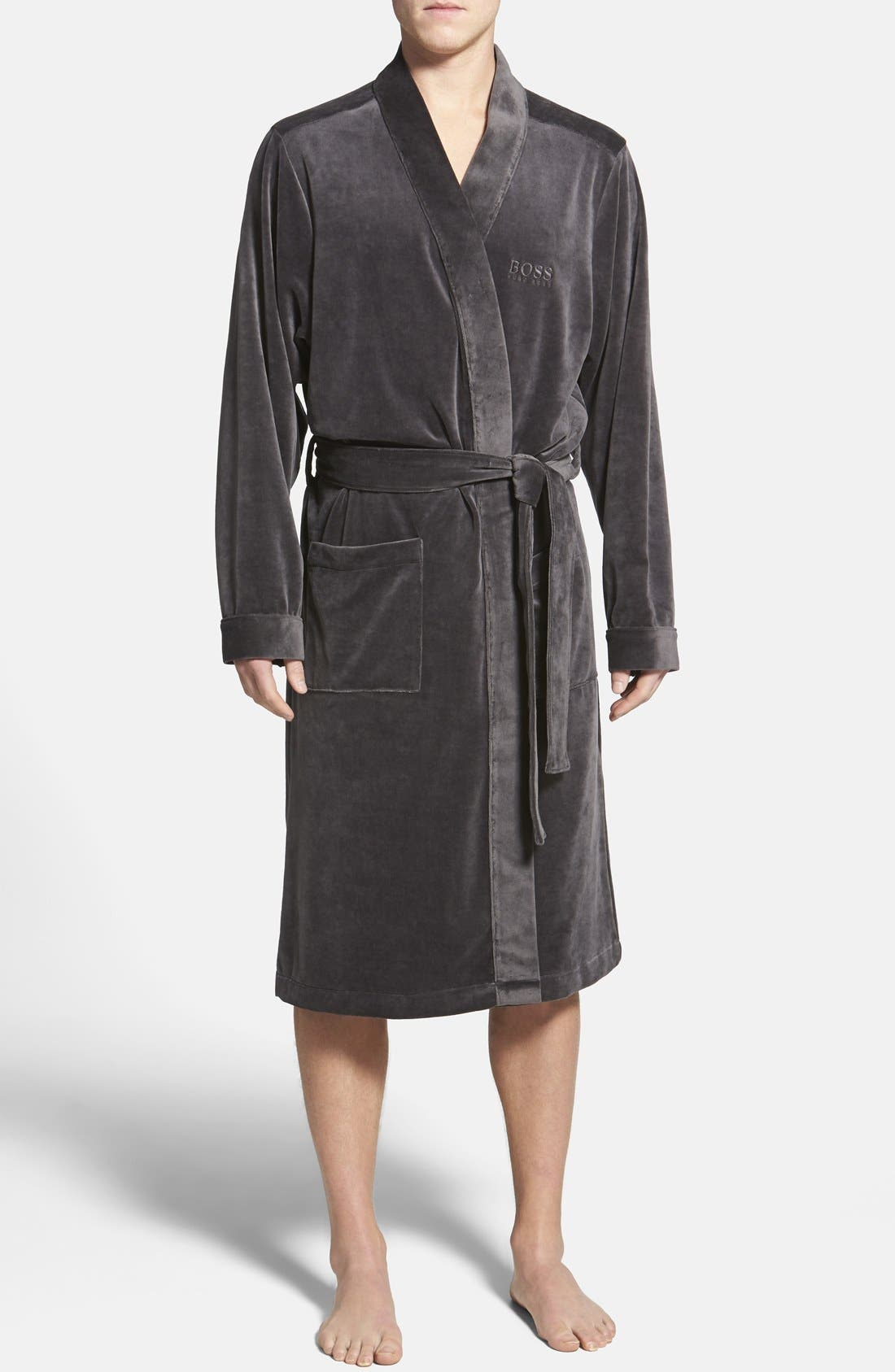 BOSS HUGO BOSS Velour Robe, Main, color, 030