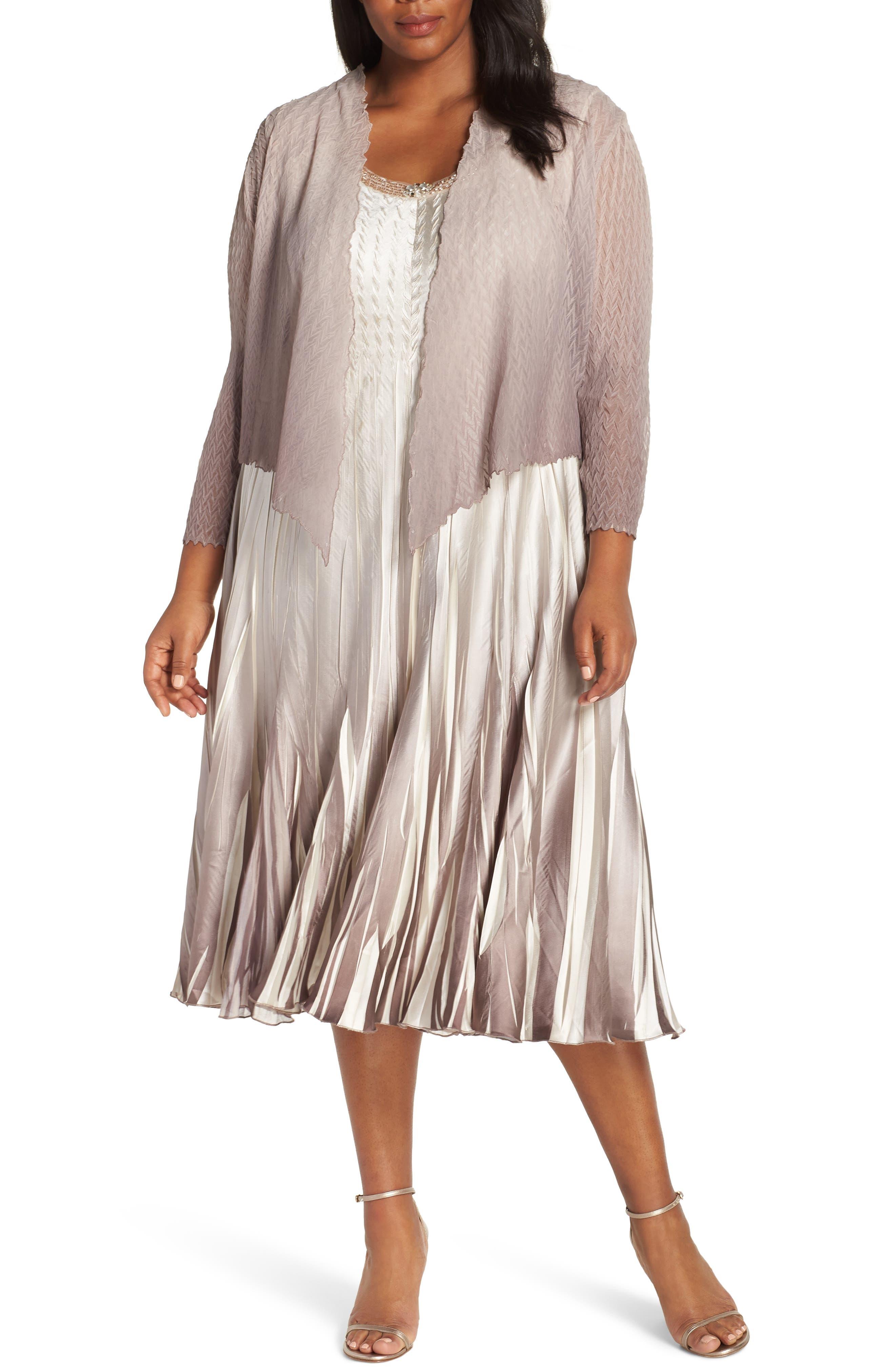 Beaded A-Line Dress & Jacket, Main, color, BEACH CAFE OMBRE