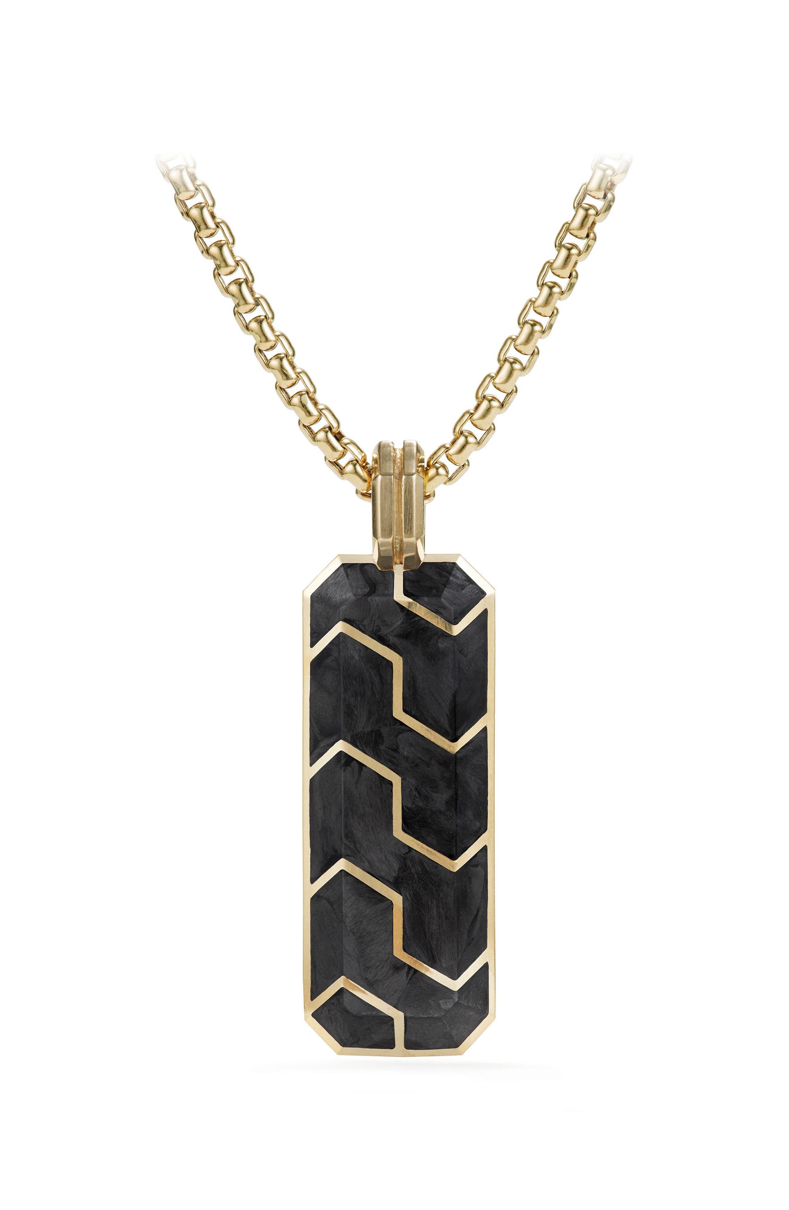 Davdi Yurman Forged Carbon Ingot Tag with 18K Gold,                             Main thumbnail 1, color,                             020