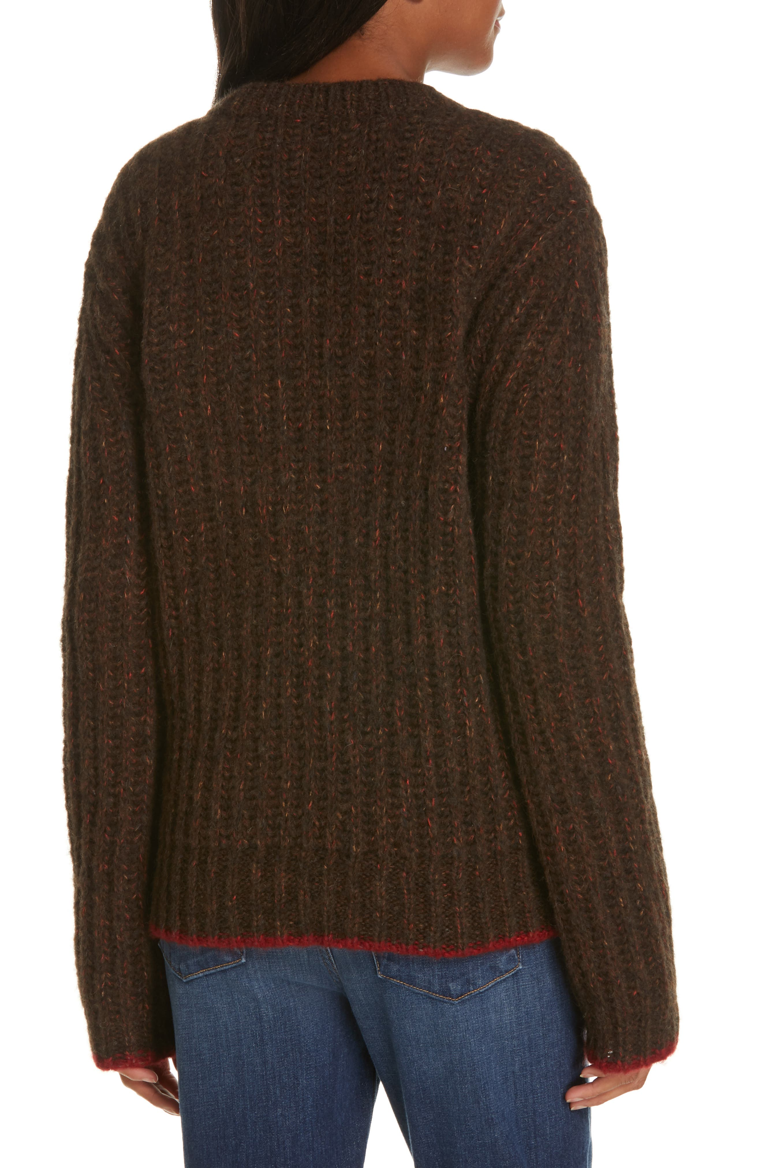 Oversize V-Neck Sweater,                             Alternate thumbnail 2, color,                             BROWN / RED