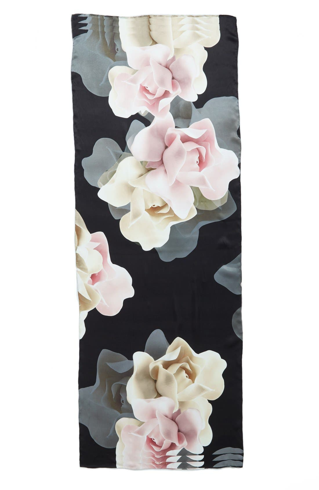 'Porcelain Rose' Silk Scarf,                             Alternate thumbnail 3, color,                             001