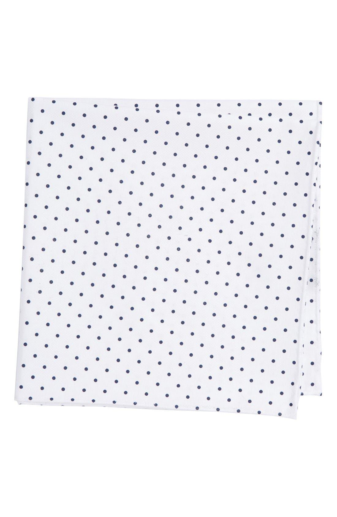 Polka Dot Cotton Pocket Square,                             Main thumbnail 1, color,                             WHITE