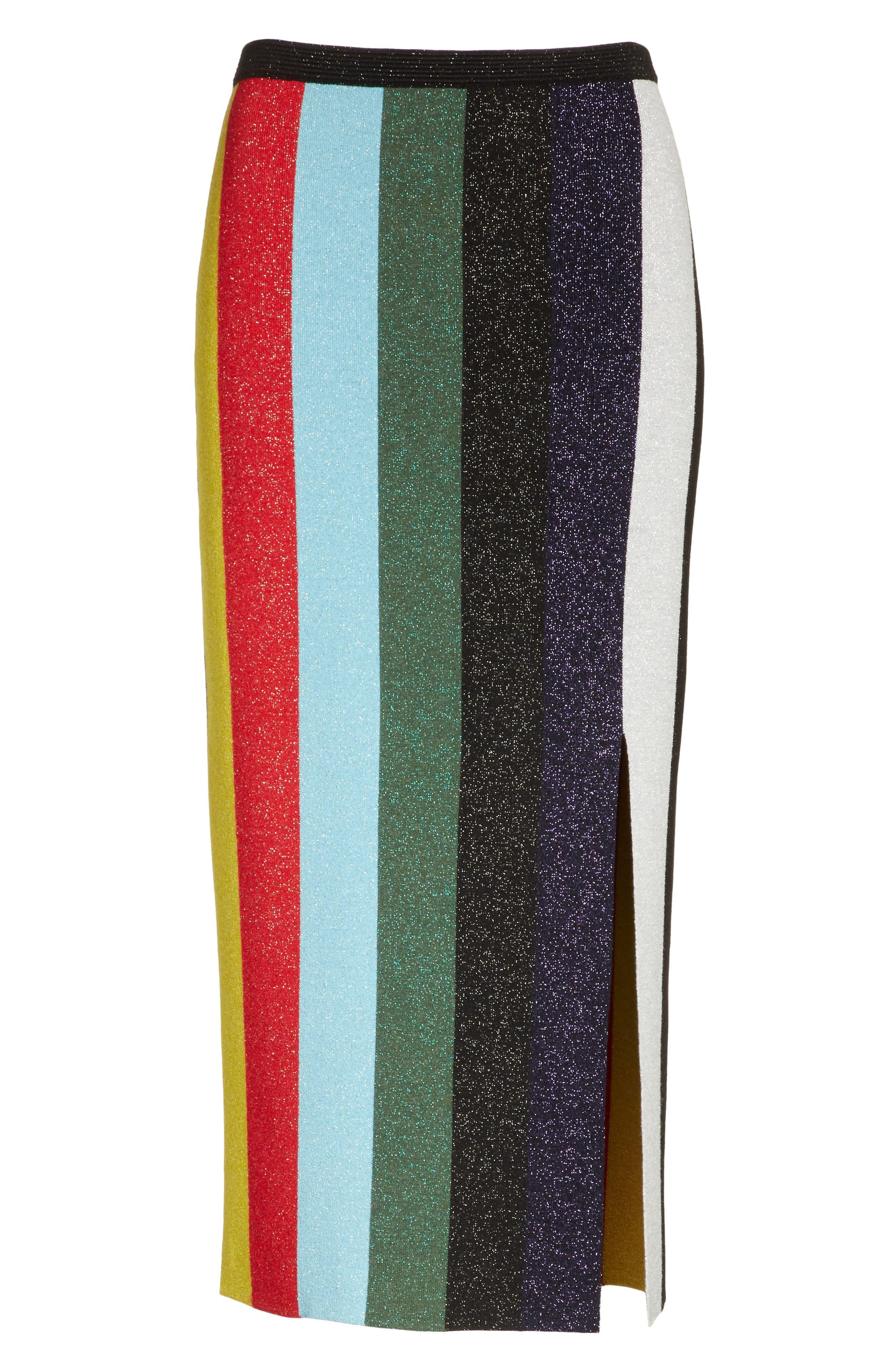 Metallic Stripe Knit Pencil Skirt,                             Alternate thumbnail 6, color,                             008