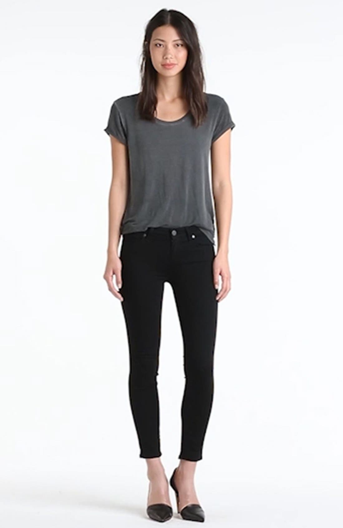 Transcend - Verdugo Crop Skinny Jeans,                             Alternate thumbnail 4, color,                             BLACK