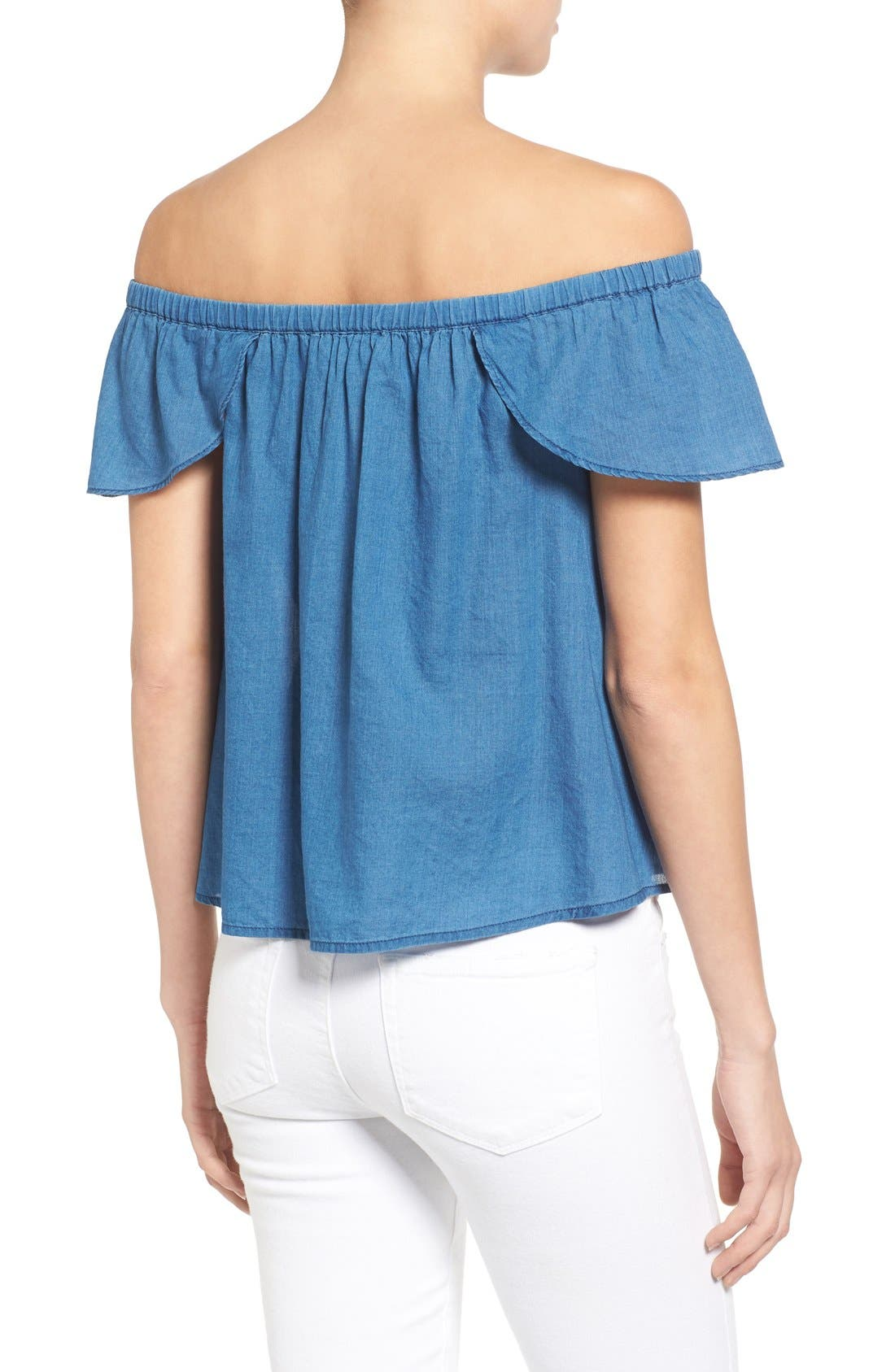 MADEWELL,                             Off the Shoulder Cotton Top,                             Alternate thumbnail 3, color,                             400