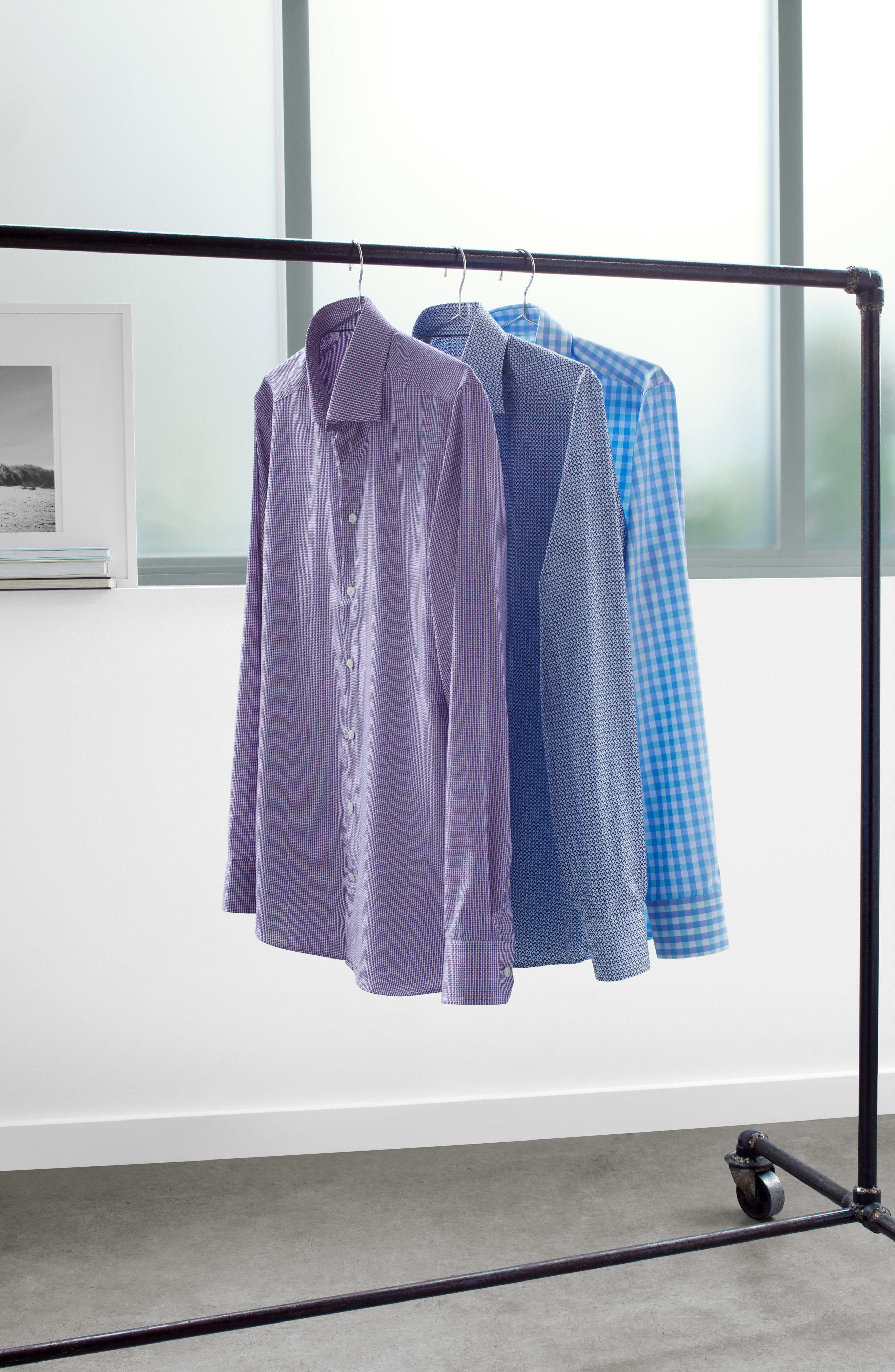 Slim Fit Check Dress Shirt,                             Alternate thumbnail 7, color,