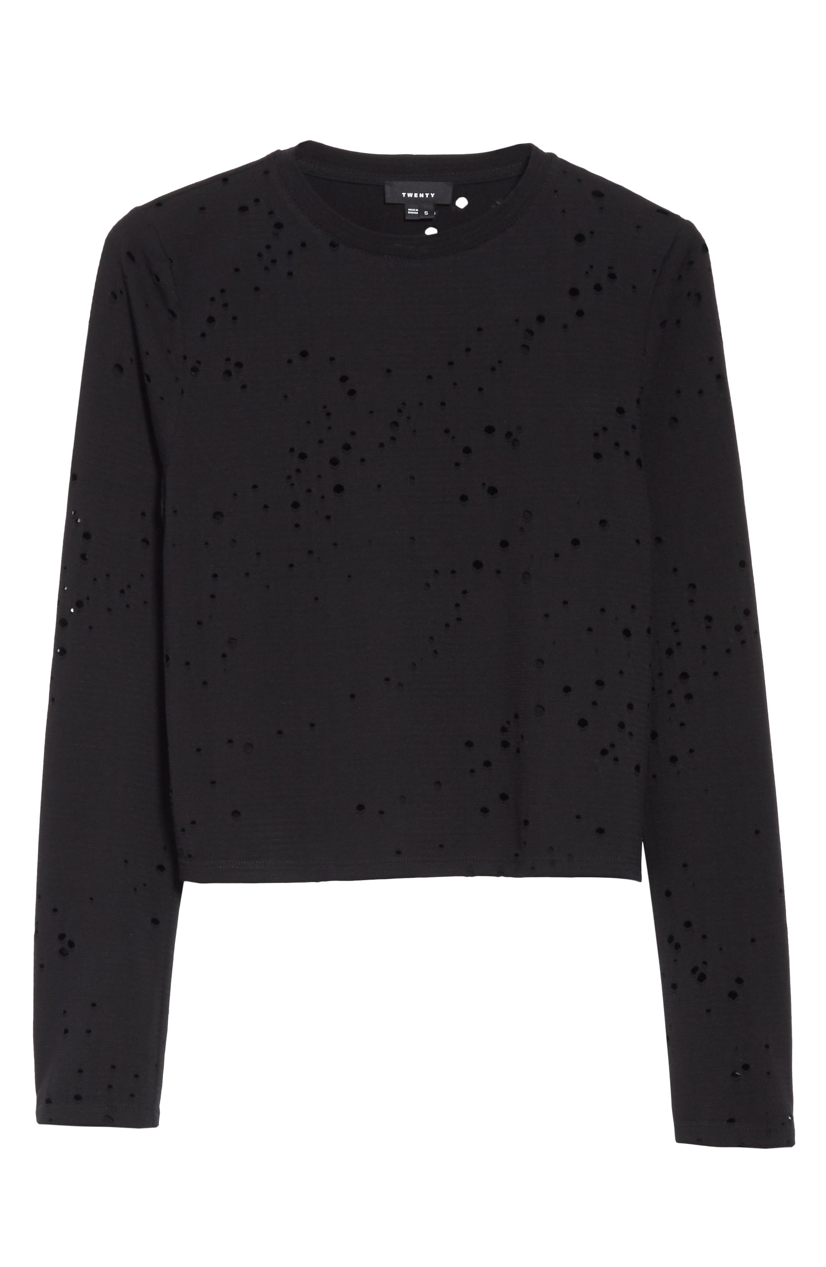 Waverly Perforated Crop Tee,                             Alternate thumbnail 6, color,                             001