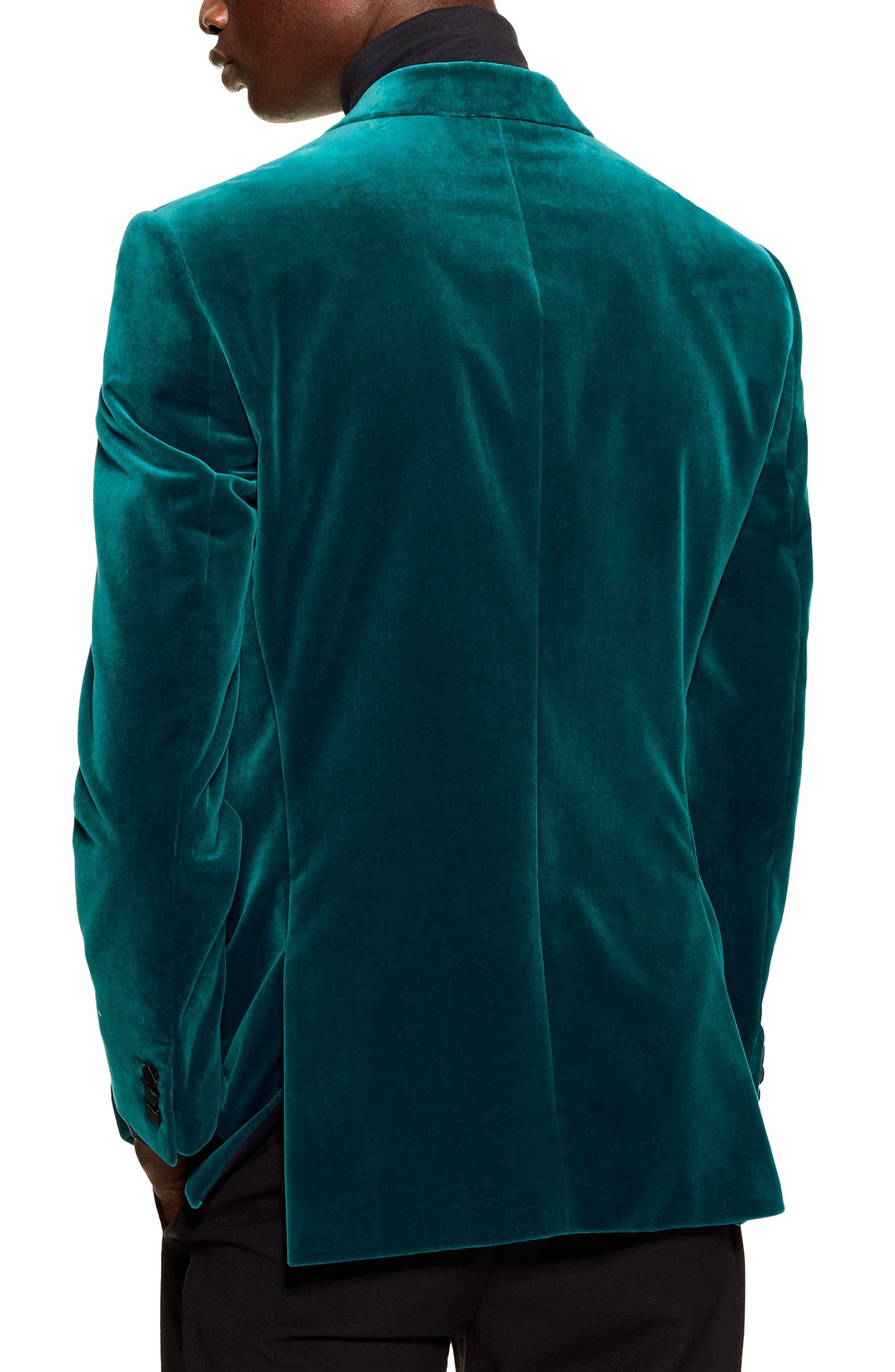TOPMAN,                             Casely Hayford Skinny Fit Velvet Blazer,                             Alternate thumbnail 2, color,                             BLUE MULTI