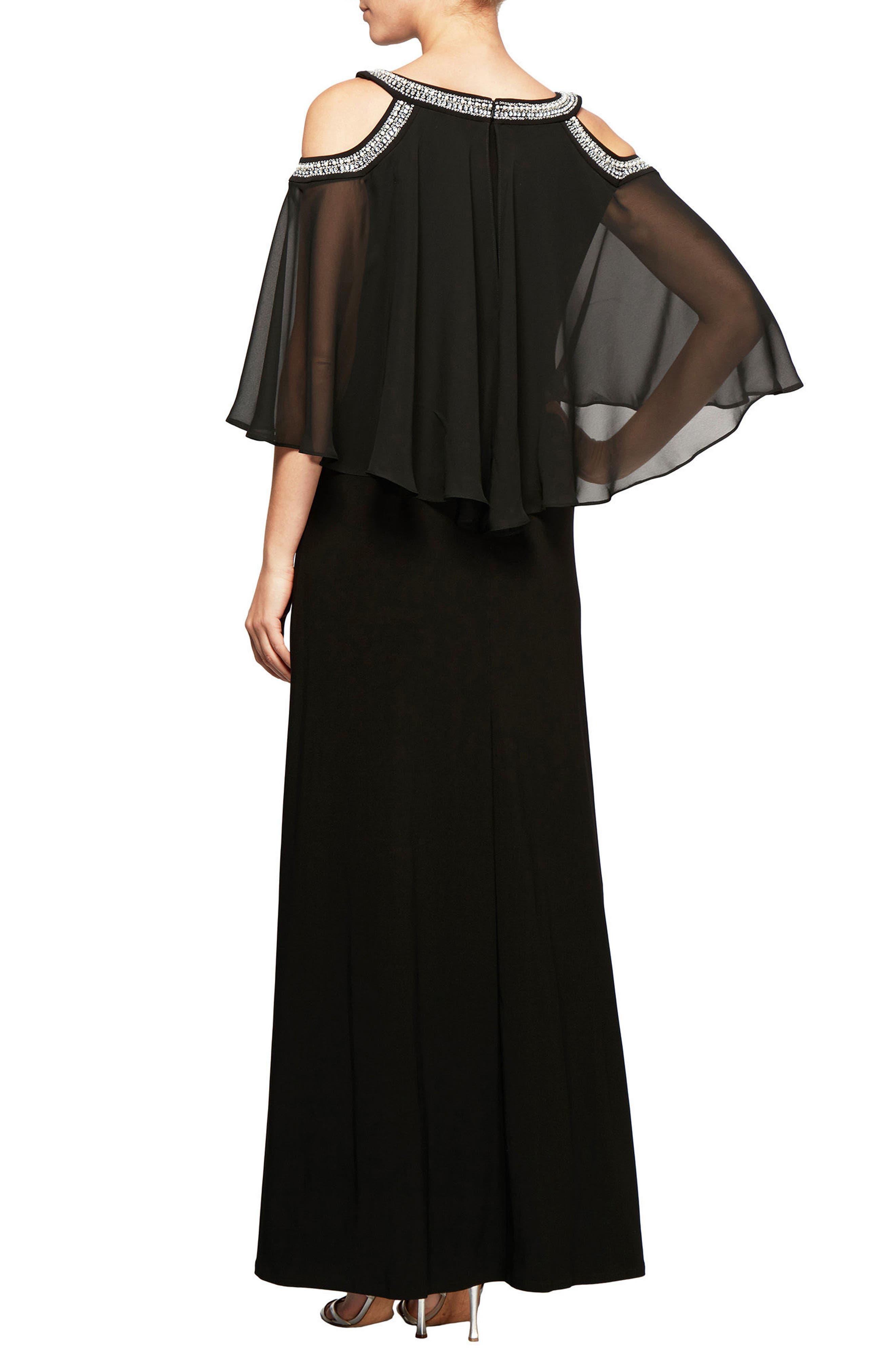 Cold Shoulder Popover Dress,                             Alternate thumbnail 2, color,                             001
