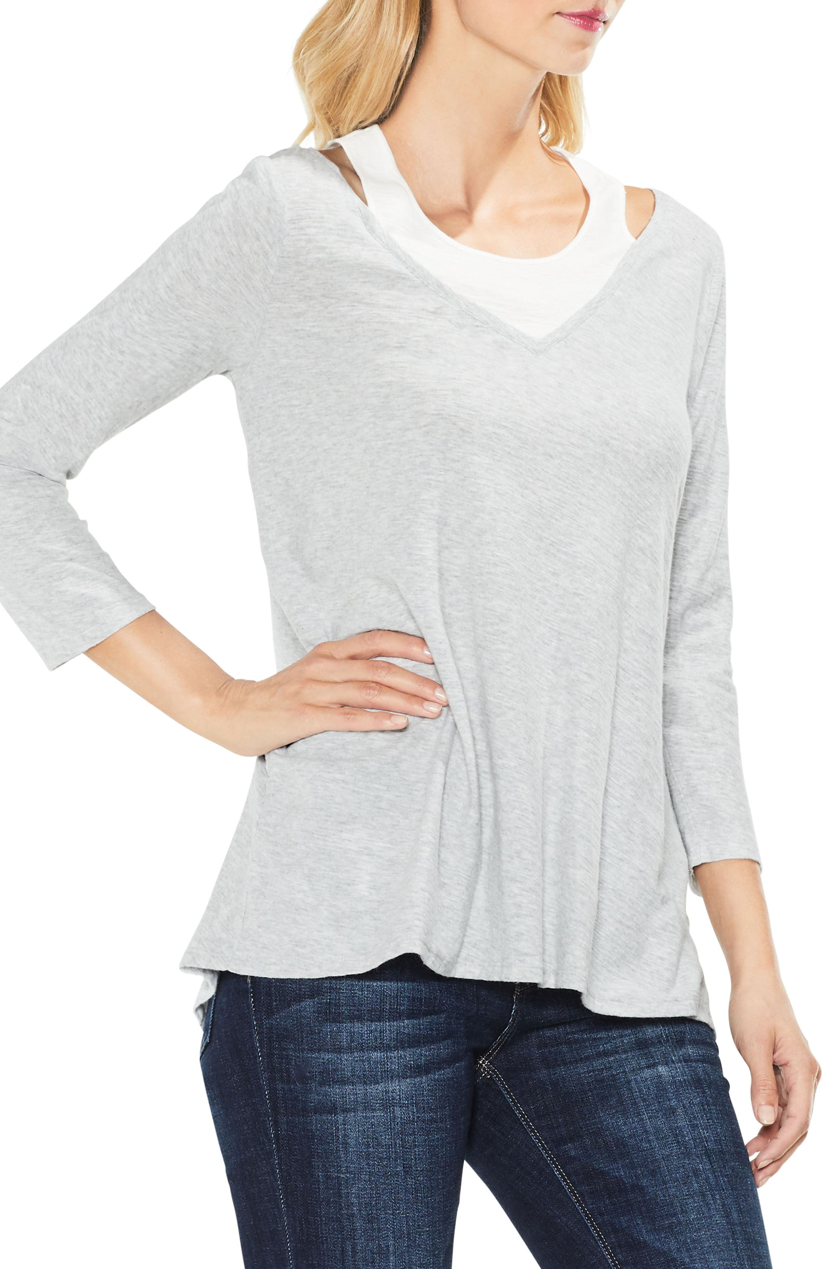 Two by Vince Camuto Layered Top,                             Main thumbnail 1, color,                             050