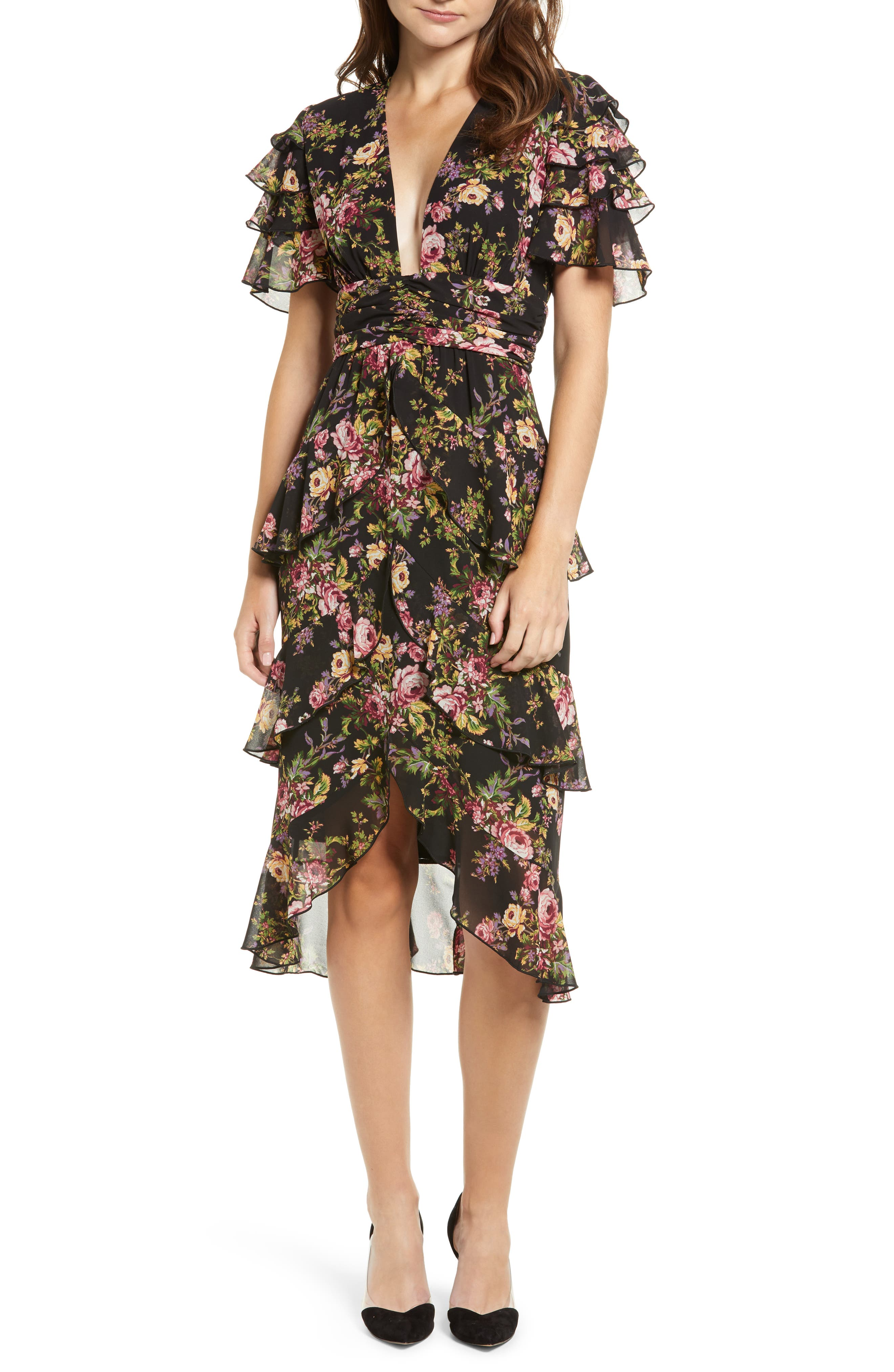 Women's Wayf Miranda Tiered Ruffle Dress, Size Small - Black