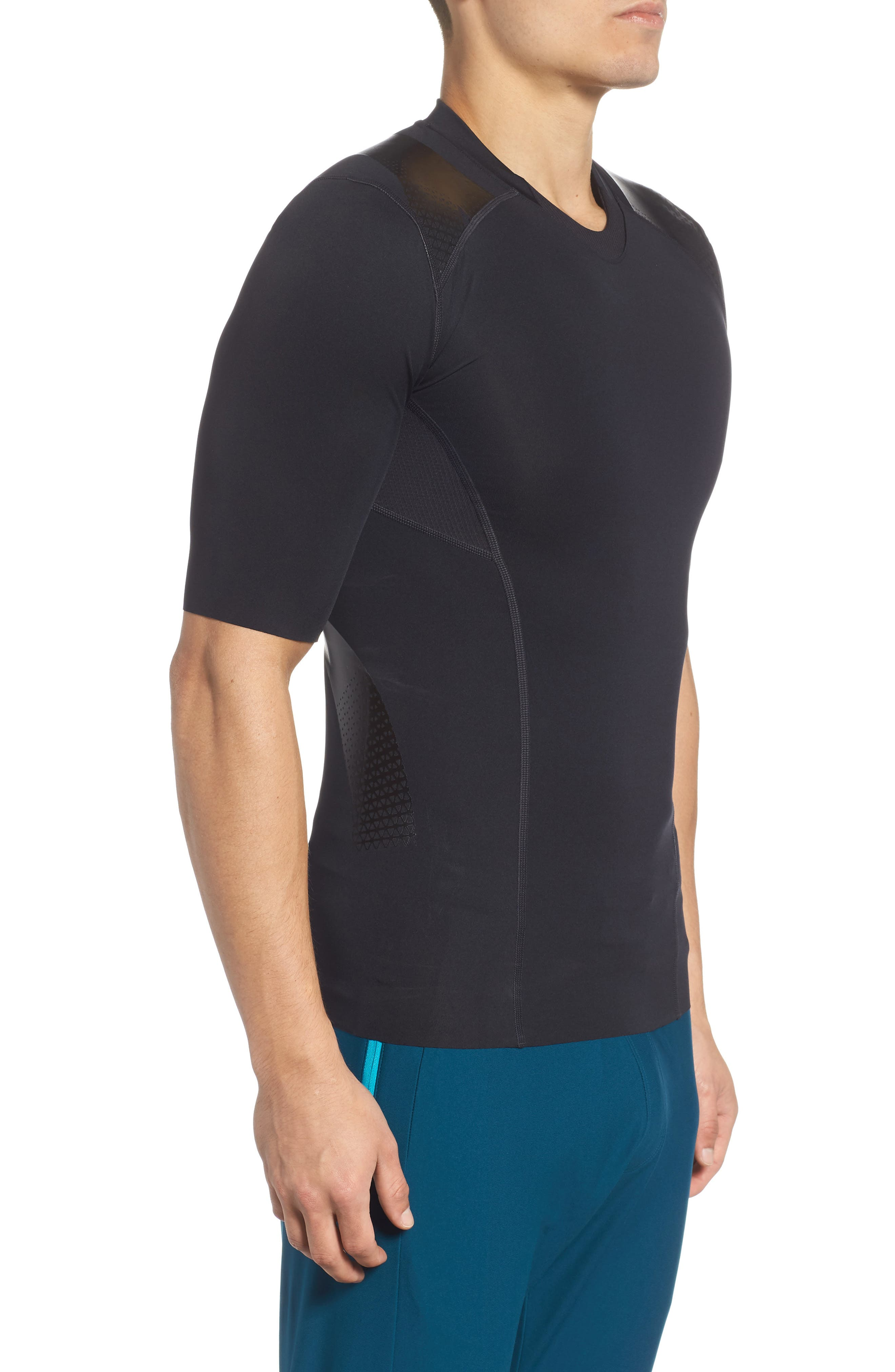 Perpetual Half Sleeve Fitted Shirt,                             Alternate thumbnail 3, color,                             BLACK