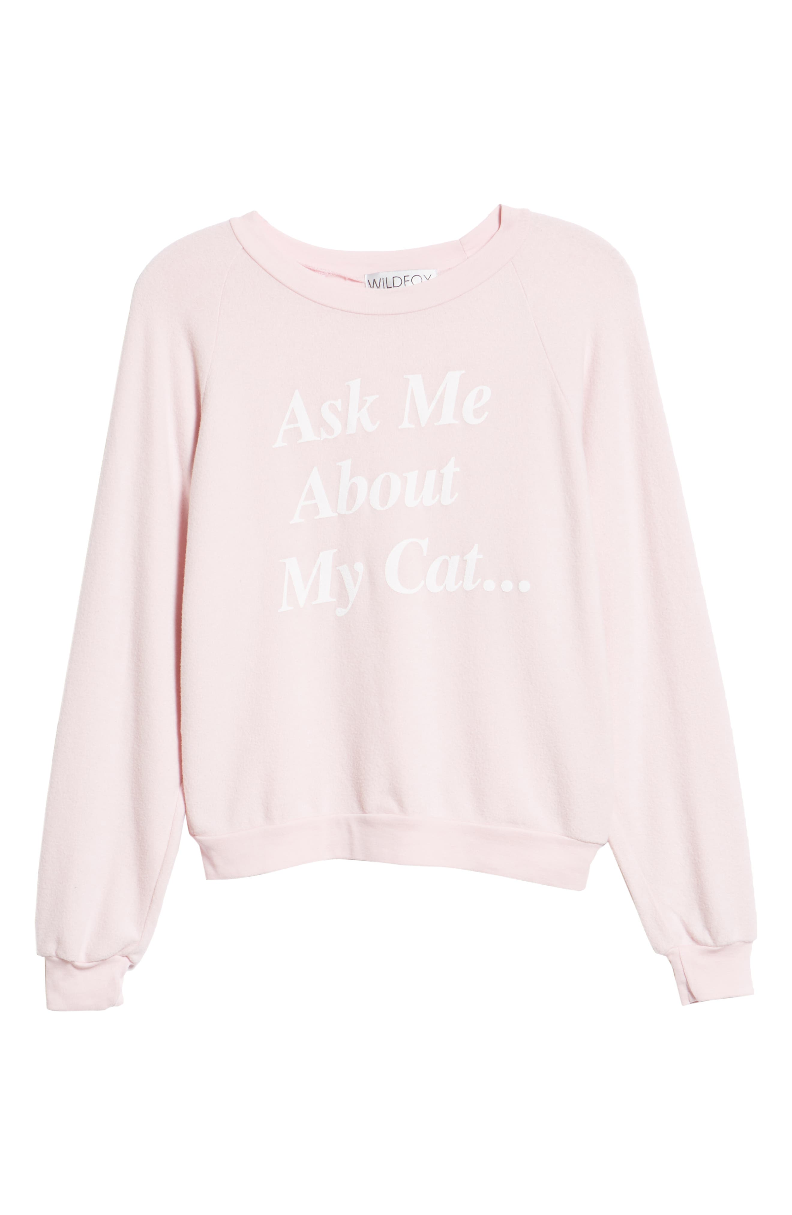 My Cat Sweatshirt,                             Alternate thumbnail 6, color,                             BABY DOLL PINK