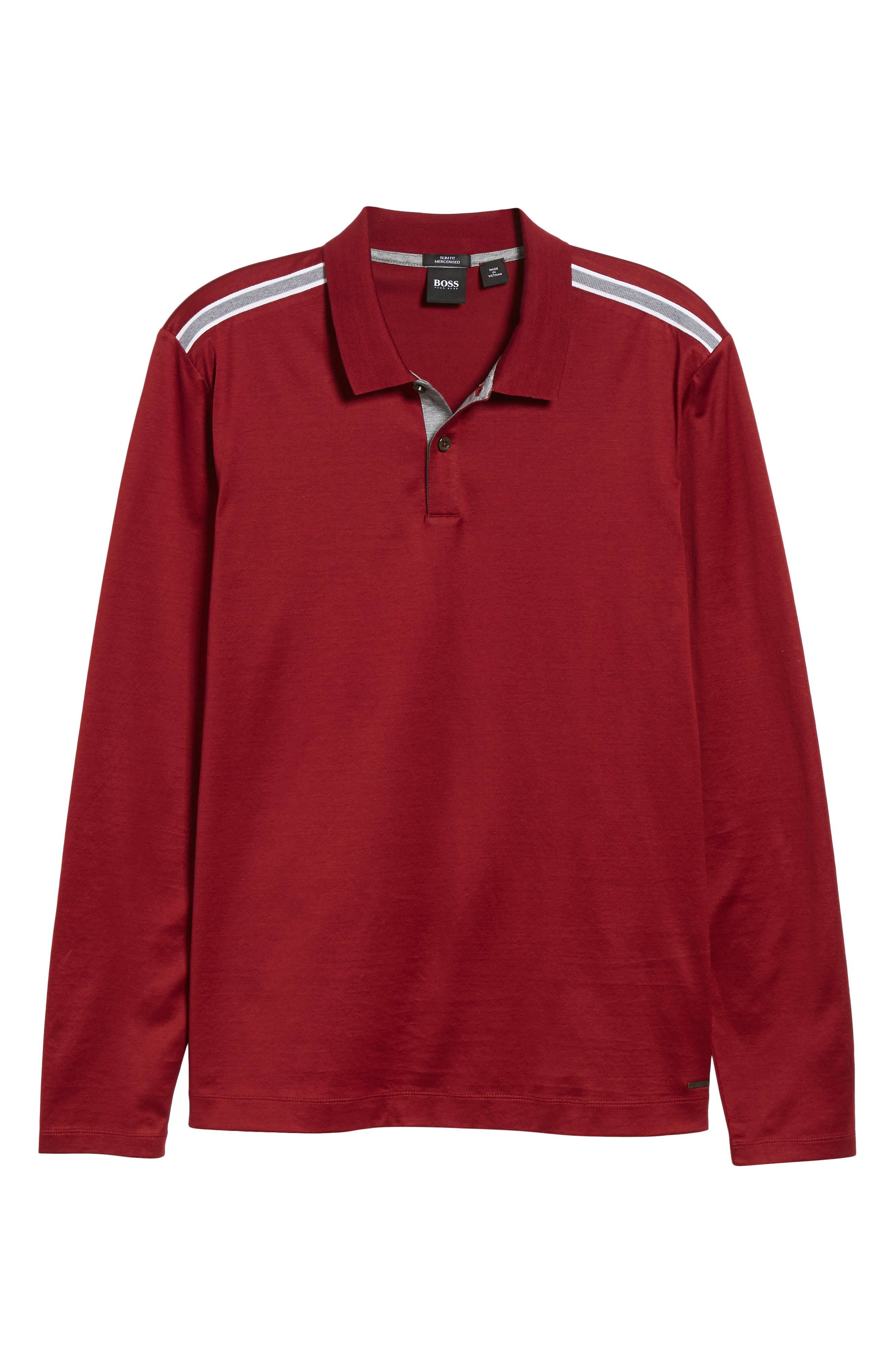 Pleins Slim Fit Long Sleeve Polo,                             Alternate thumbnail 6, color,                             RED