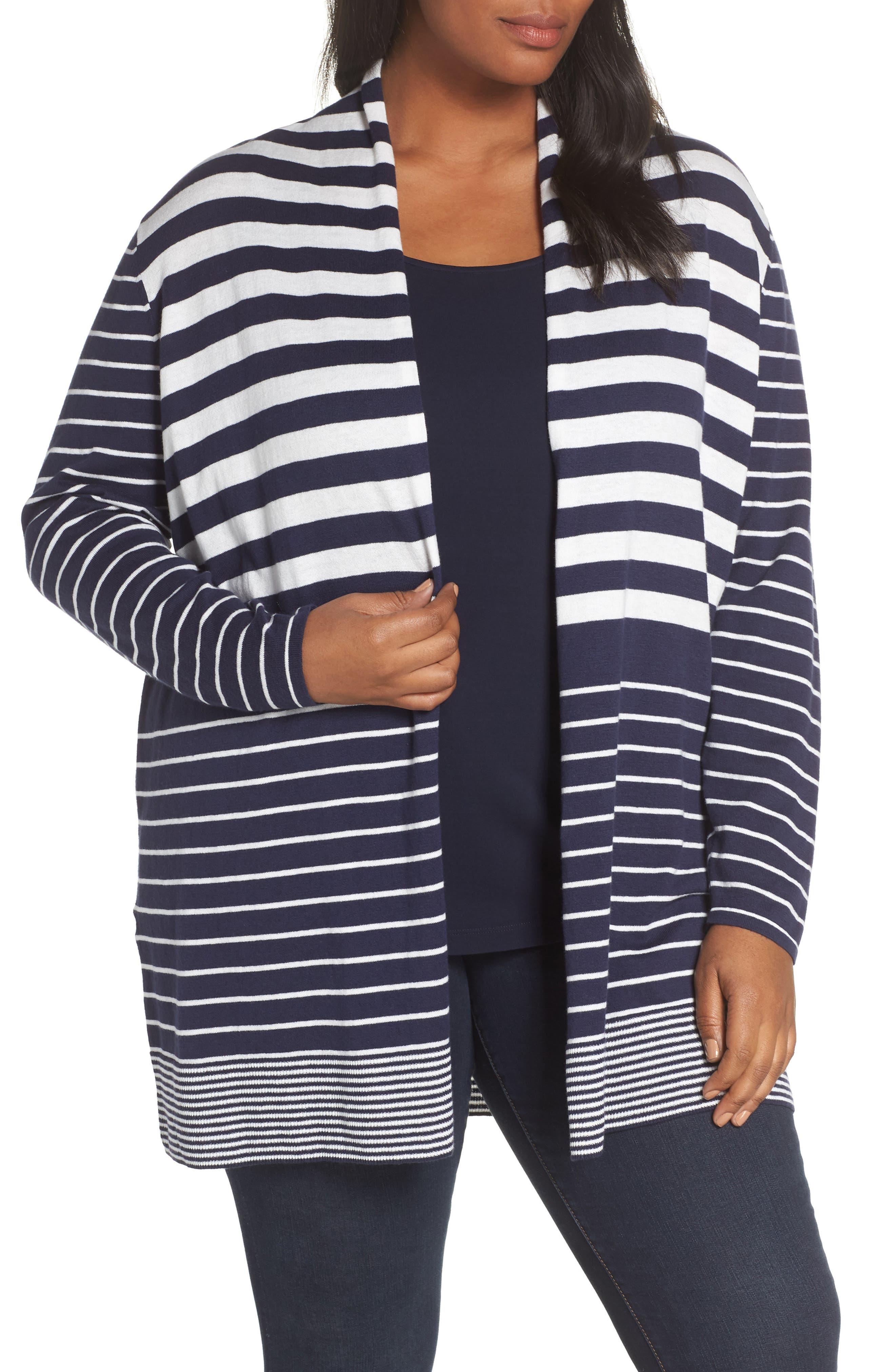 Plus Size Sejour Stripe Open Front Cardigan, Blue