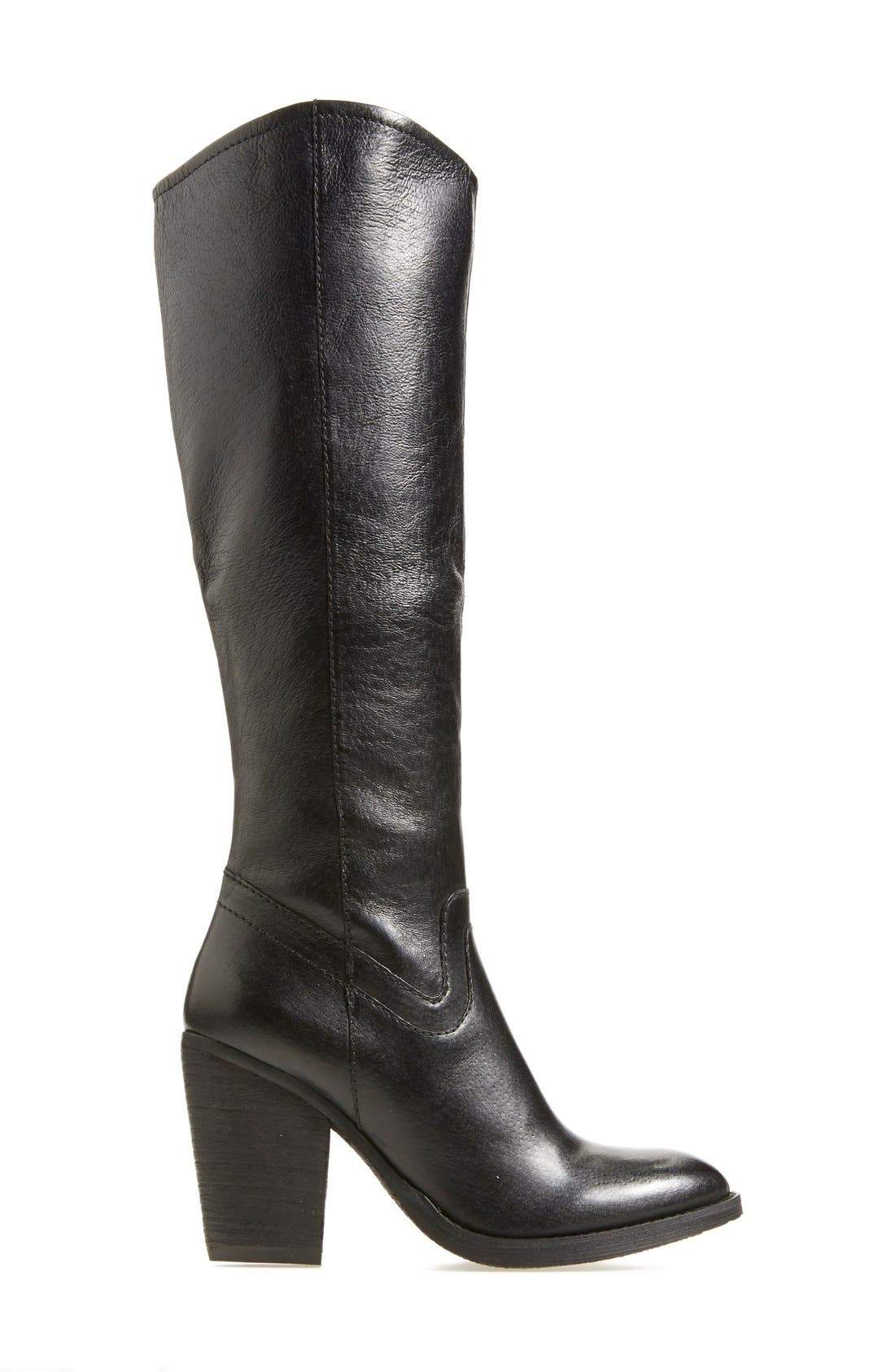 'Carrter' Knee High Leather Boot,                             Alternate thumbnail 6, color,                             001