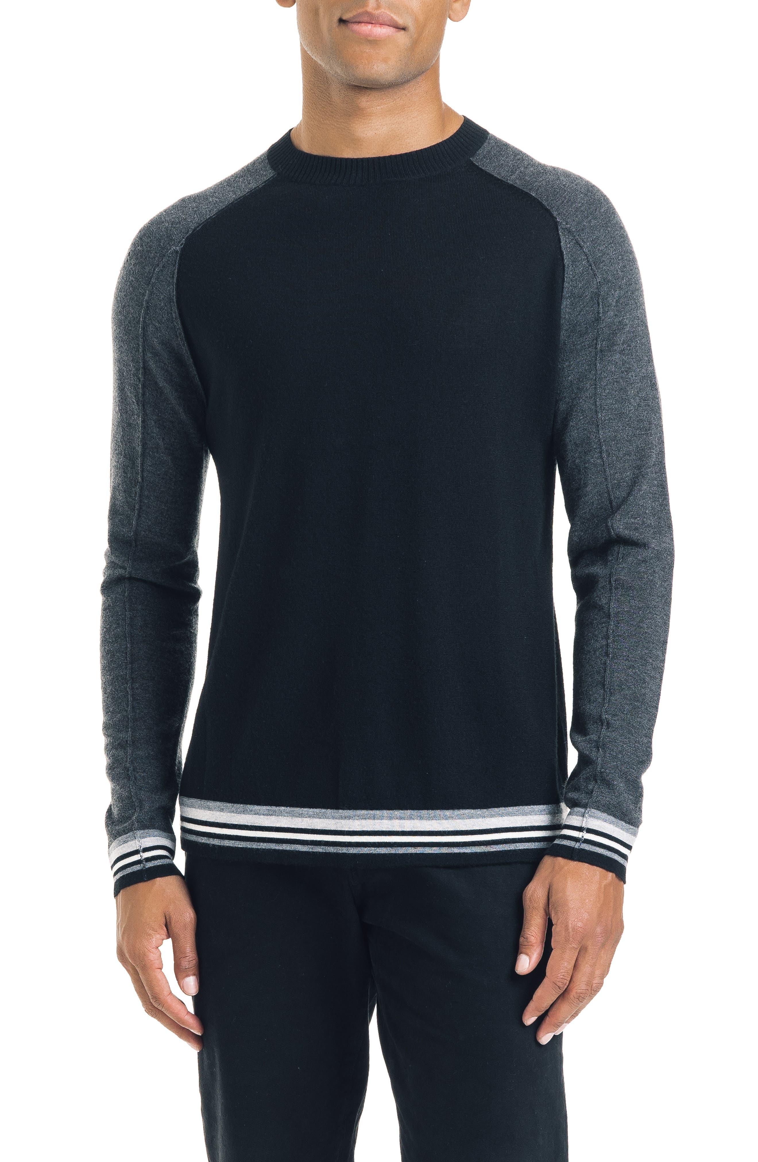 Mix Modern Slim Fit Wool Sweater,                             Main thumbnail 1, color,                             BLACK
