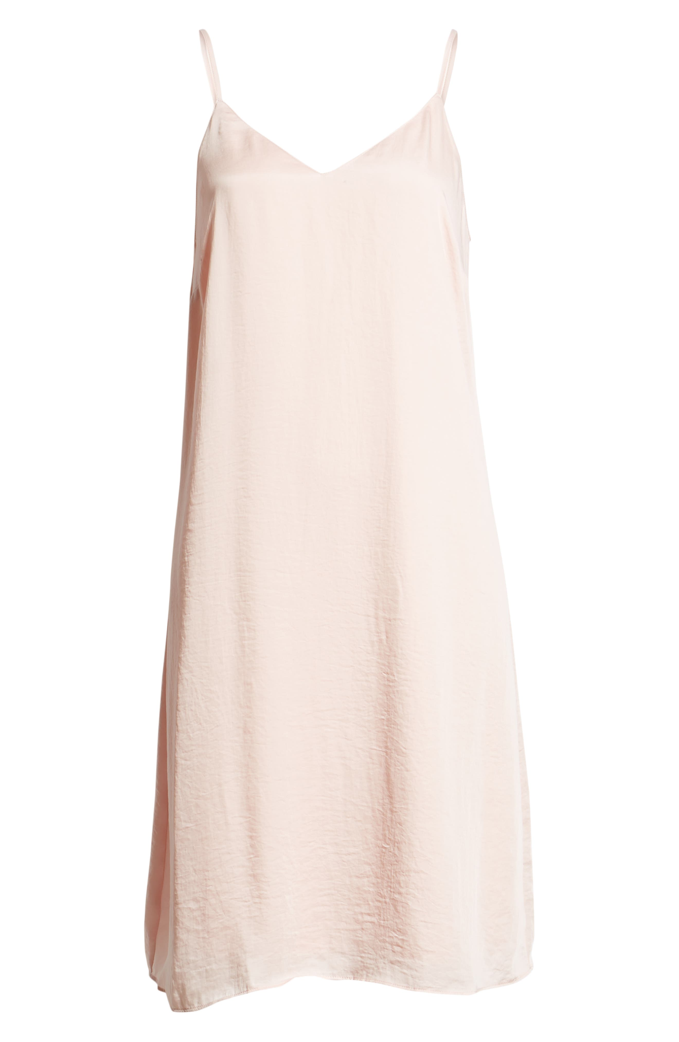 Hammered Satin Midi Slipdress,                             Alternate thumbnail 7, color,                             BLUSH