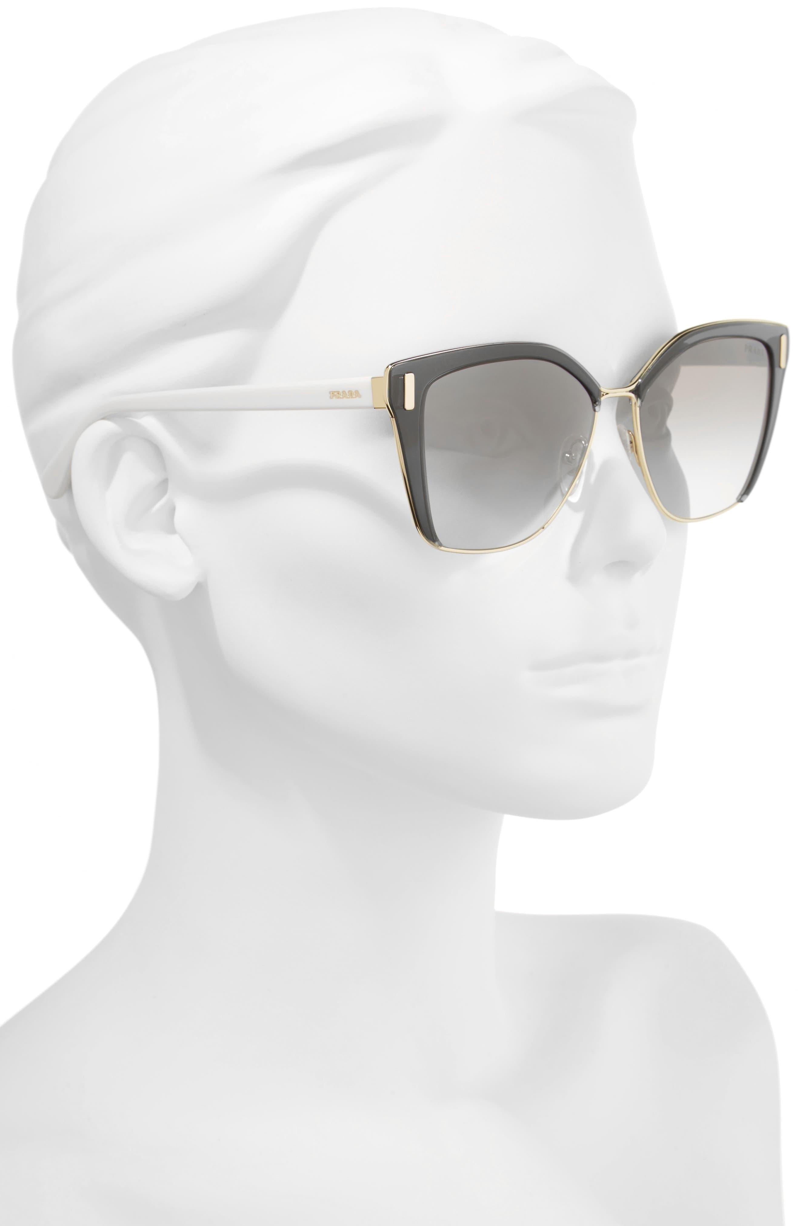 54mm Gradient Geometric Sunglasses,                             Alternate thumbnail 2, color,                             GREY/ GOLD GRADIENT MIRROR