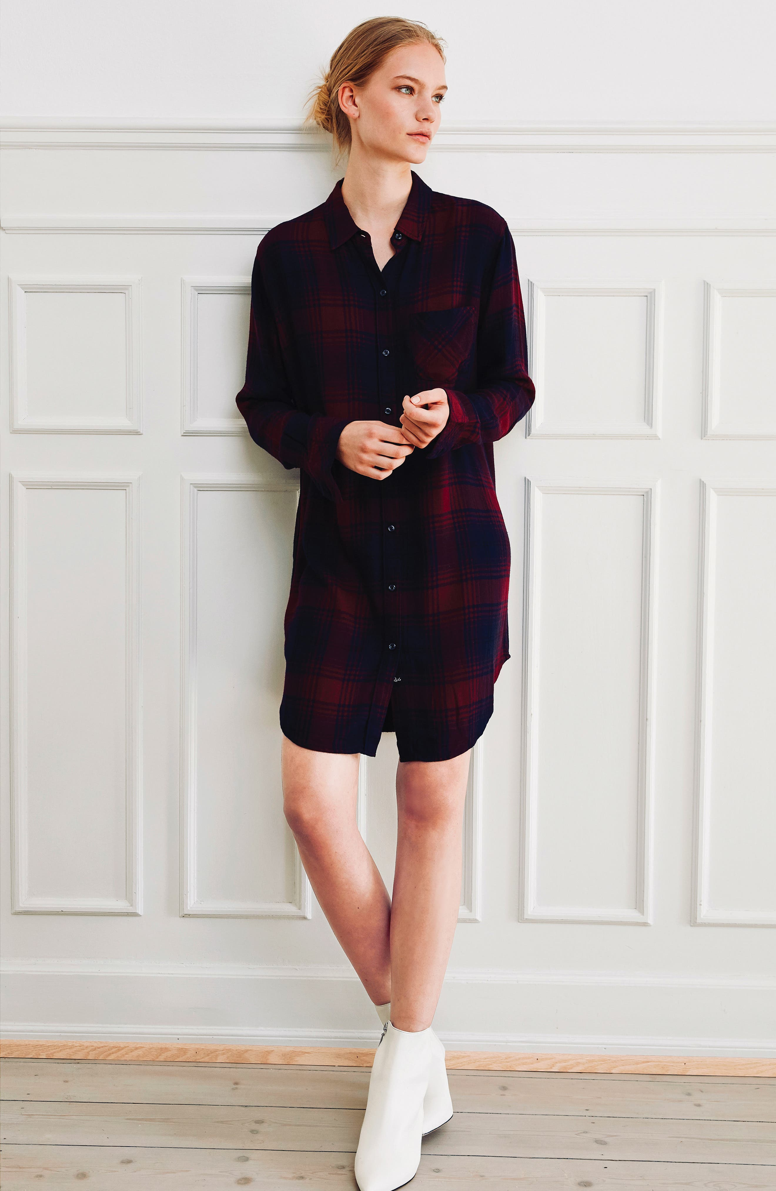 Bianca Flannel Shirtdress,                             Alternate thumbnail 2, color,                             CURRANT NAVY
