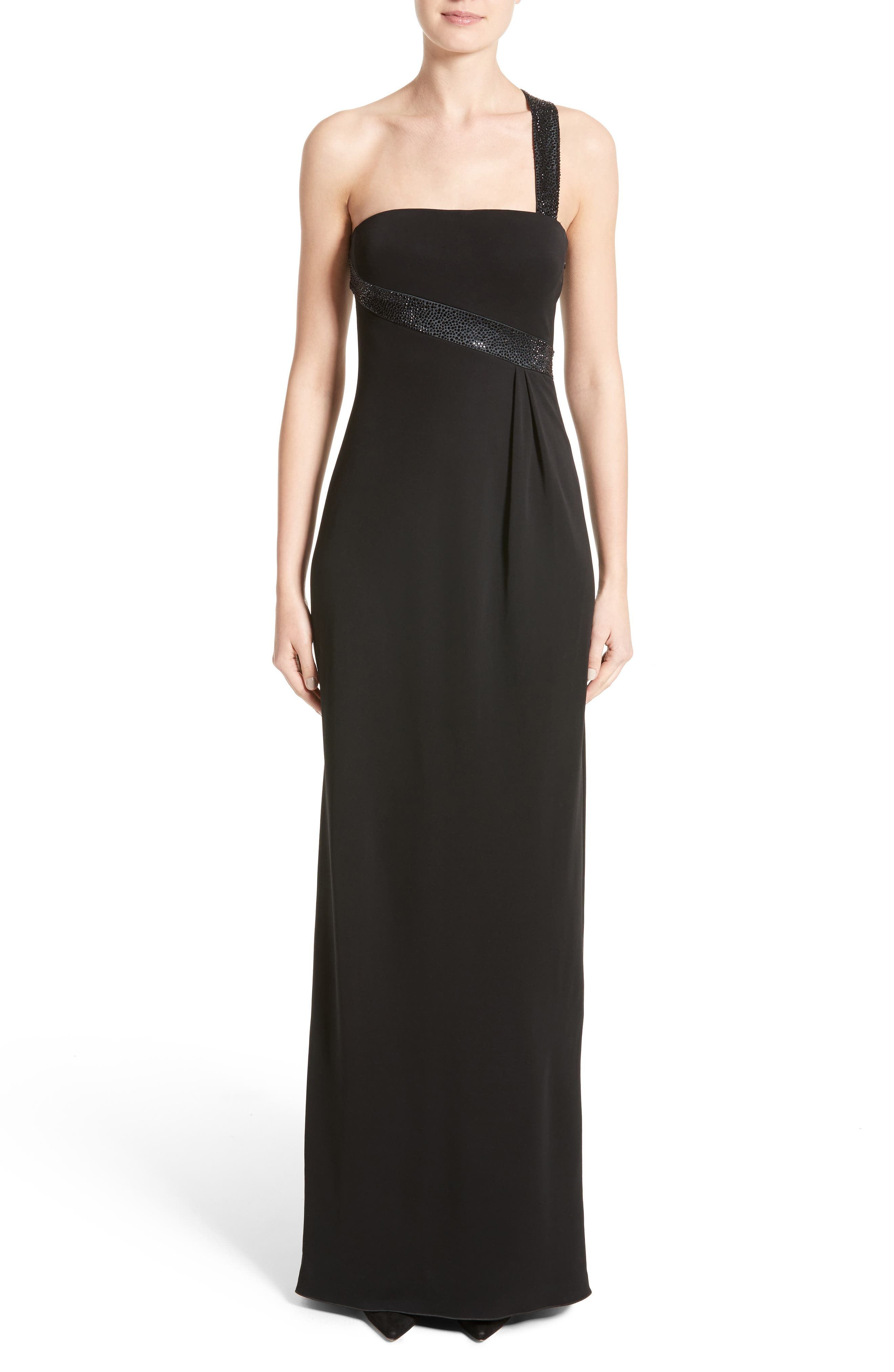 Crystal Trim Matte Jersey Gown,                         Main,                         color, 020