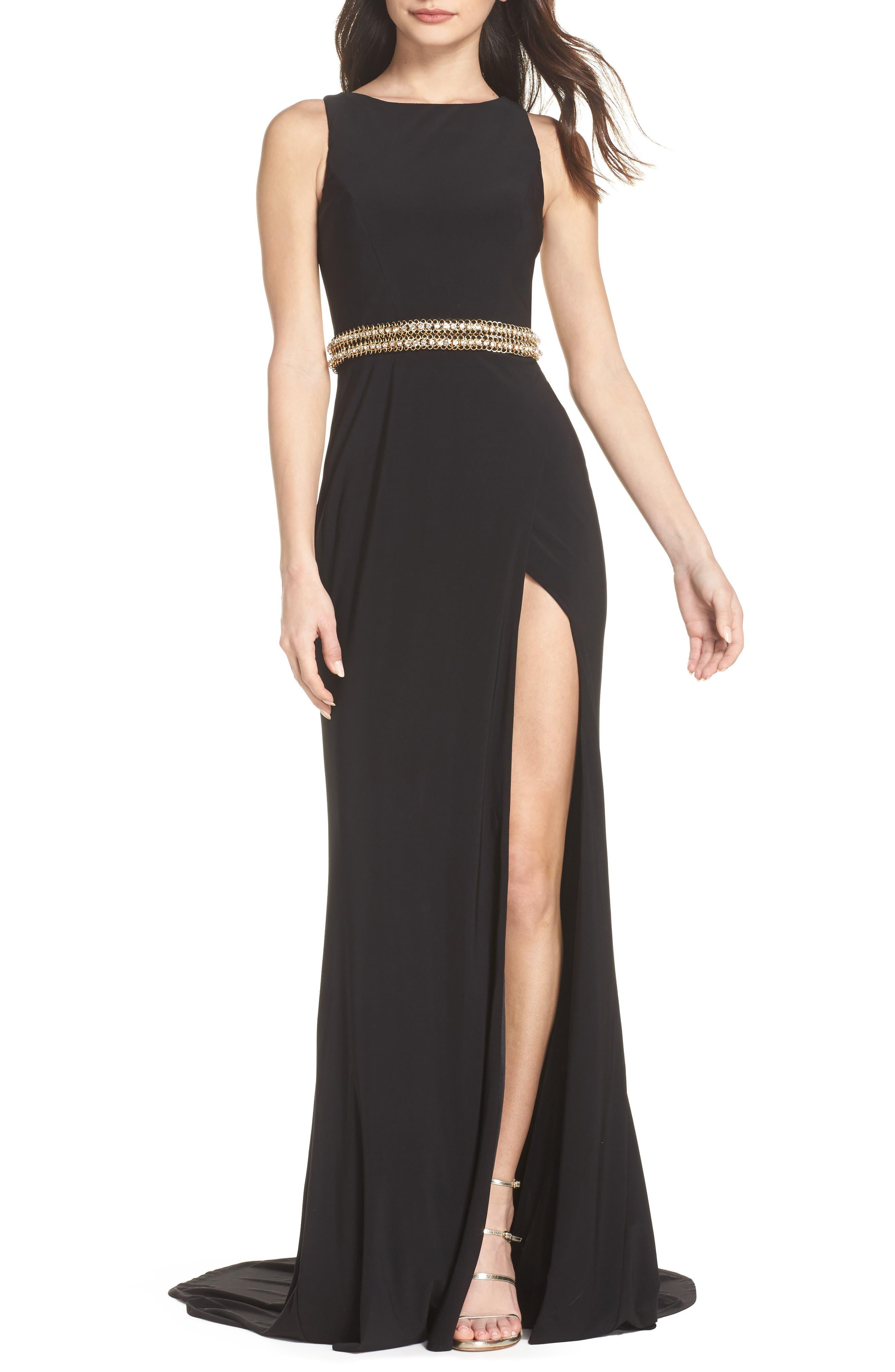 Embellished Waist Gown,                         Main,                         color, BLACK