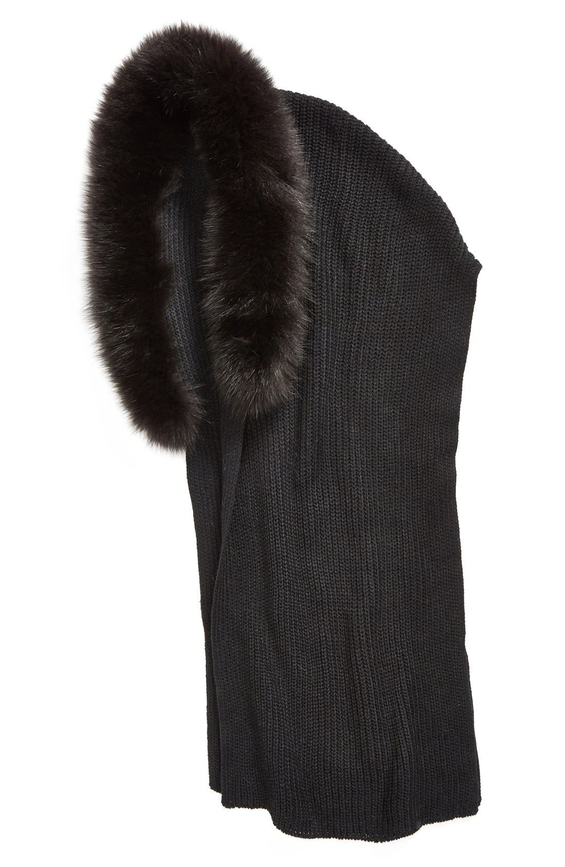 Hooded Scarf with Genuine Fox Fur Trim,                             Alternate thumbnail 2, color,                             001
