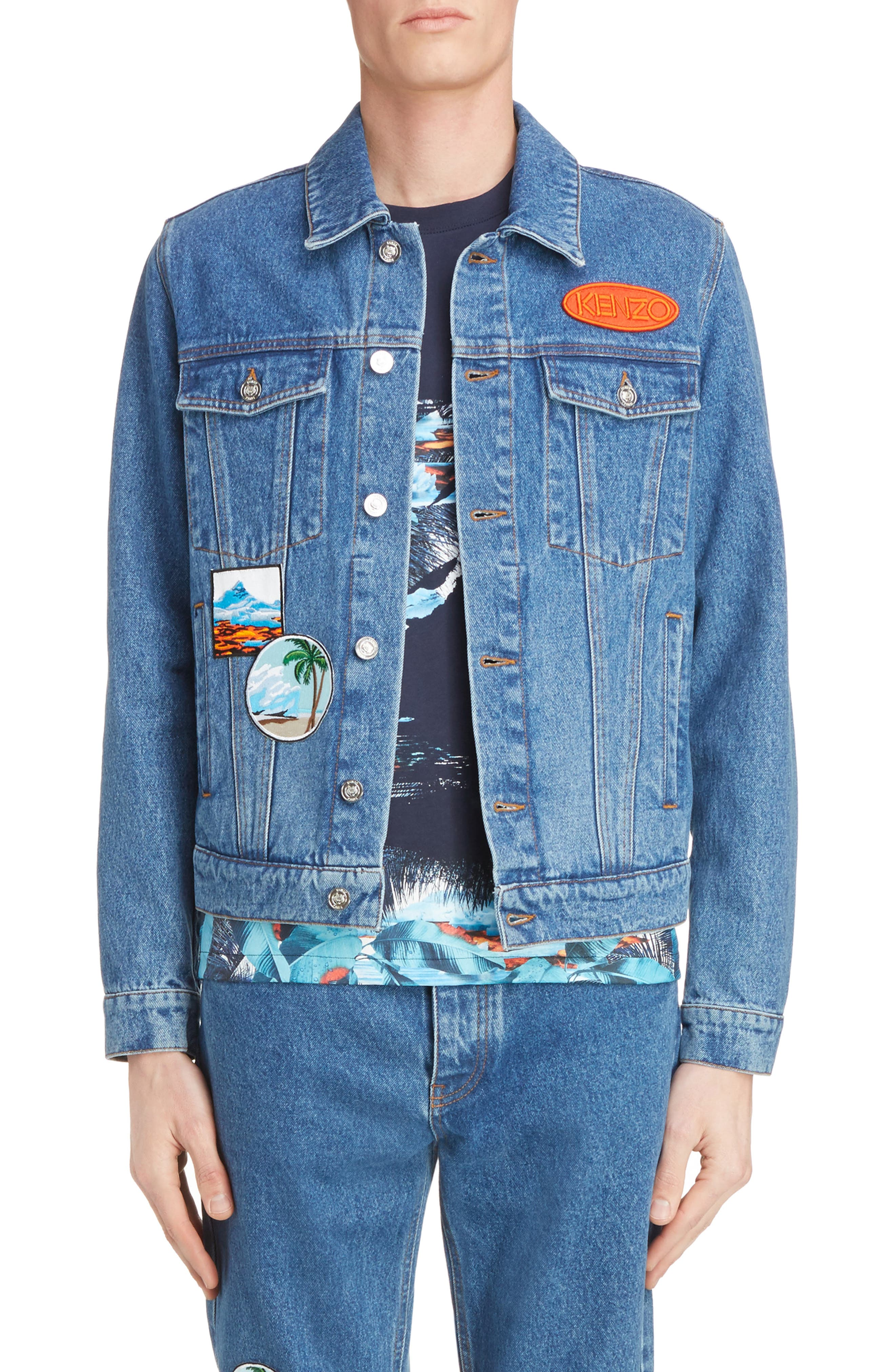 Denim Patch Jacket,                             Main thumbnail 1, color,                             402