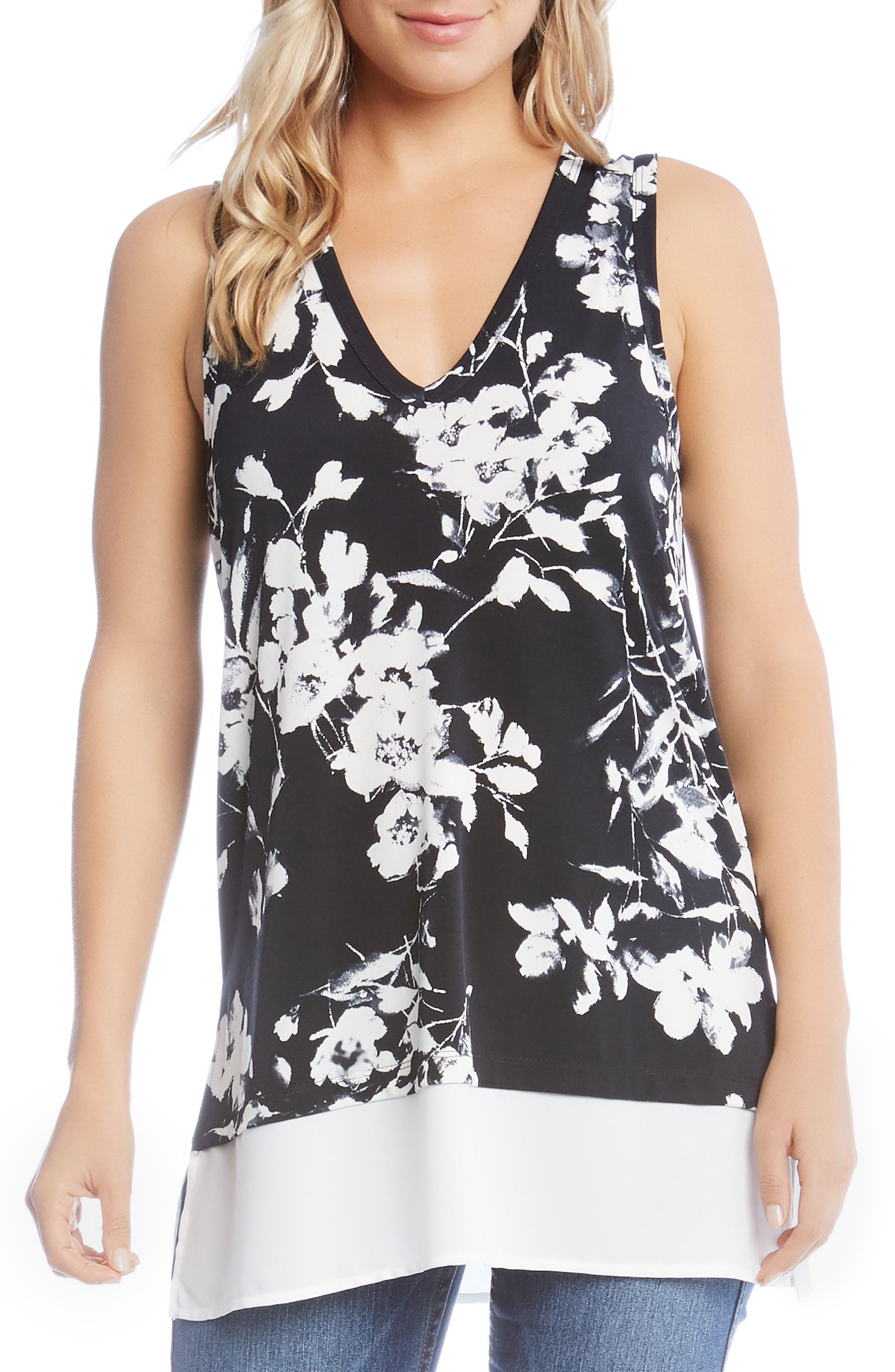 Floral Side Slit Top,                         Main,                         color,