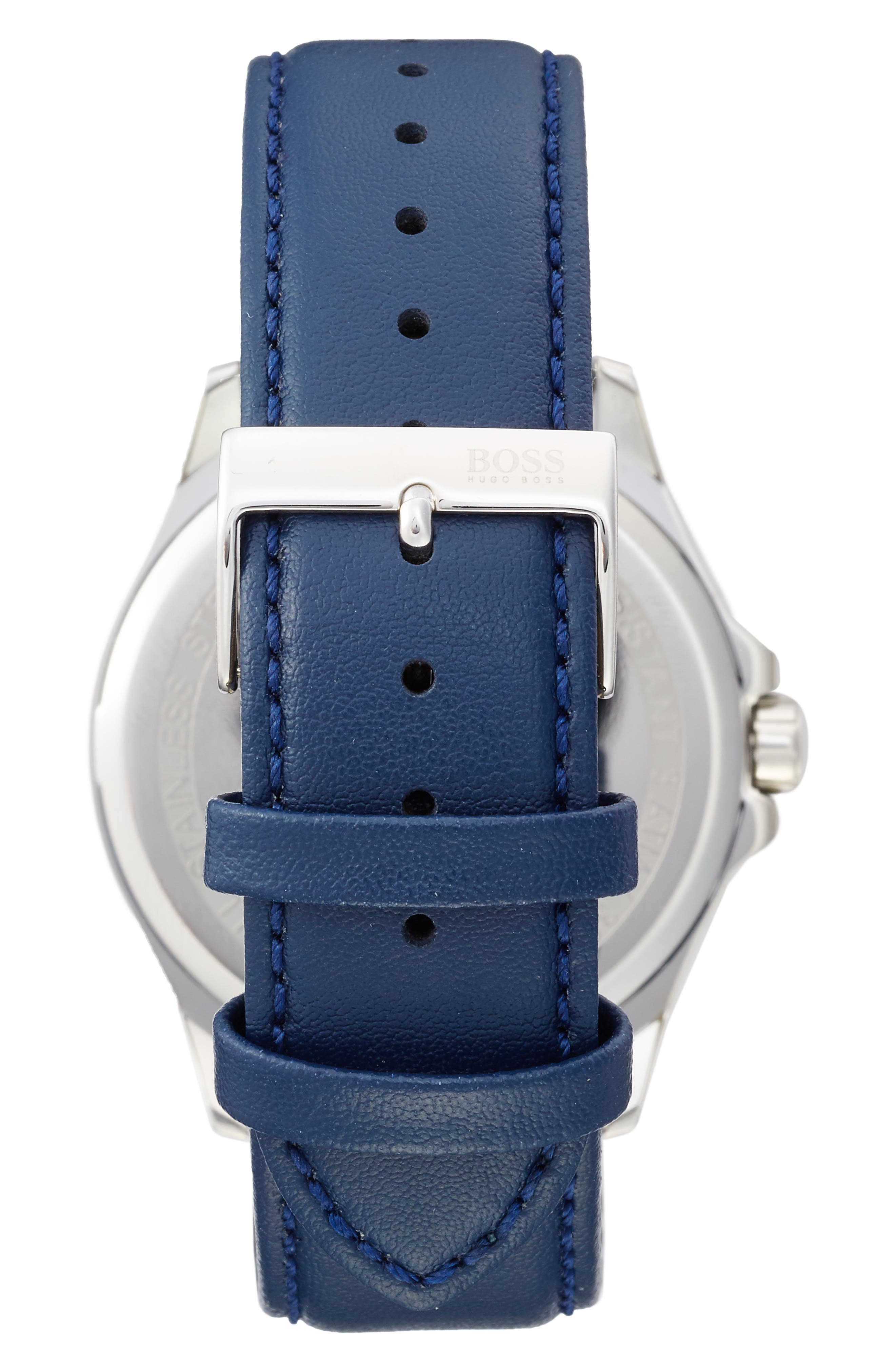 BOSS The James Leather Strap Watch, 42mm,                             Alternate thumbnail 2, color,                             001