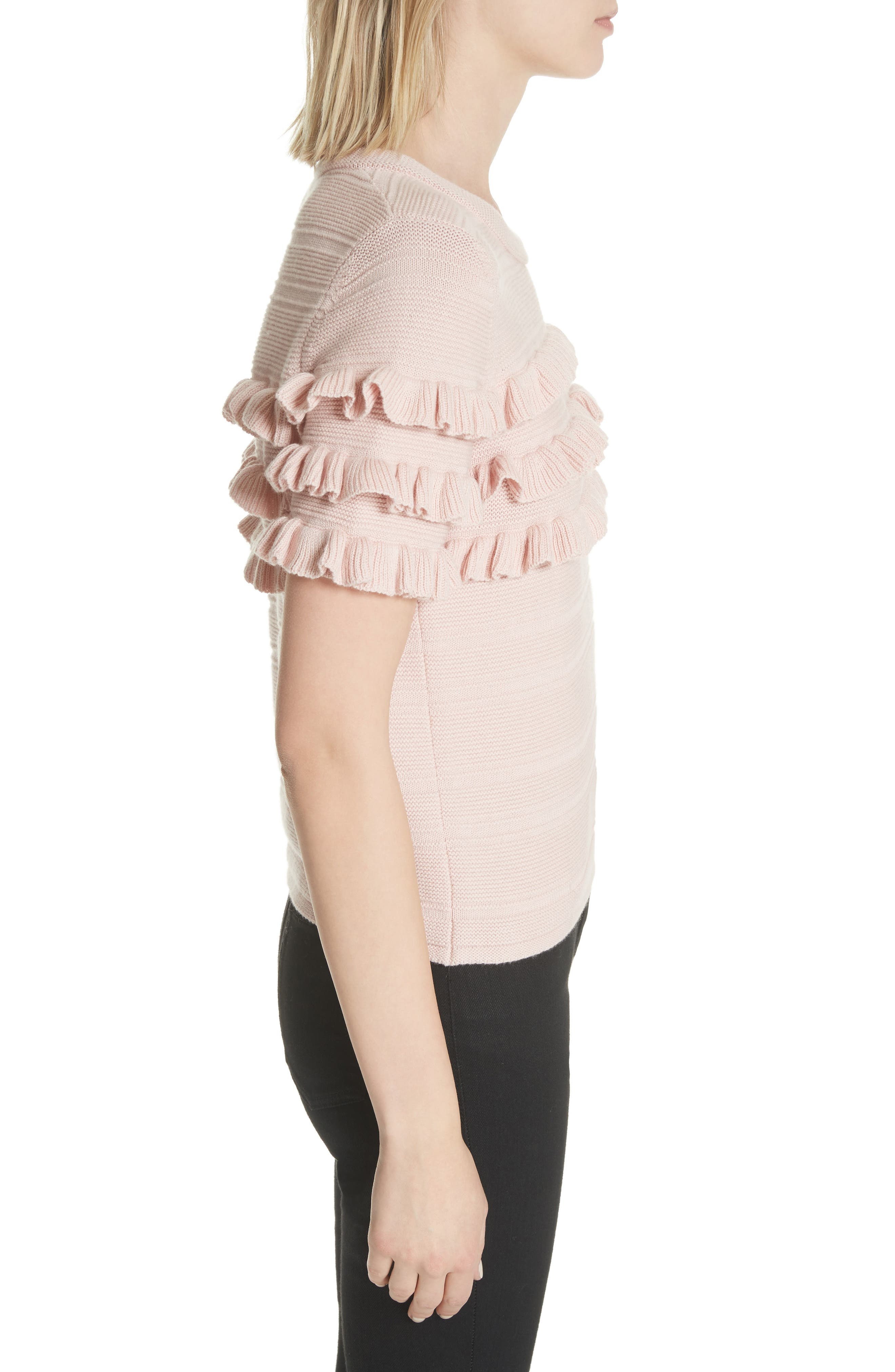 ruffled cotton & cashmere sweater,                             Alternate thumbnail 6, color,