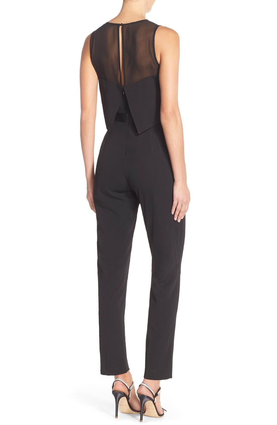 Popover Mixed Media Jumpsuit,                             Alternate thumbnail 4, color,                             001